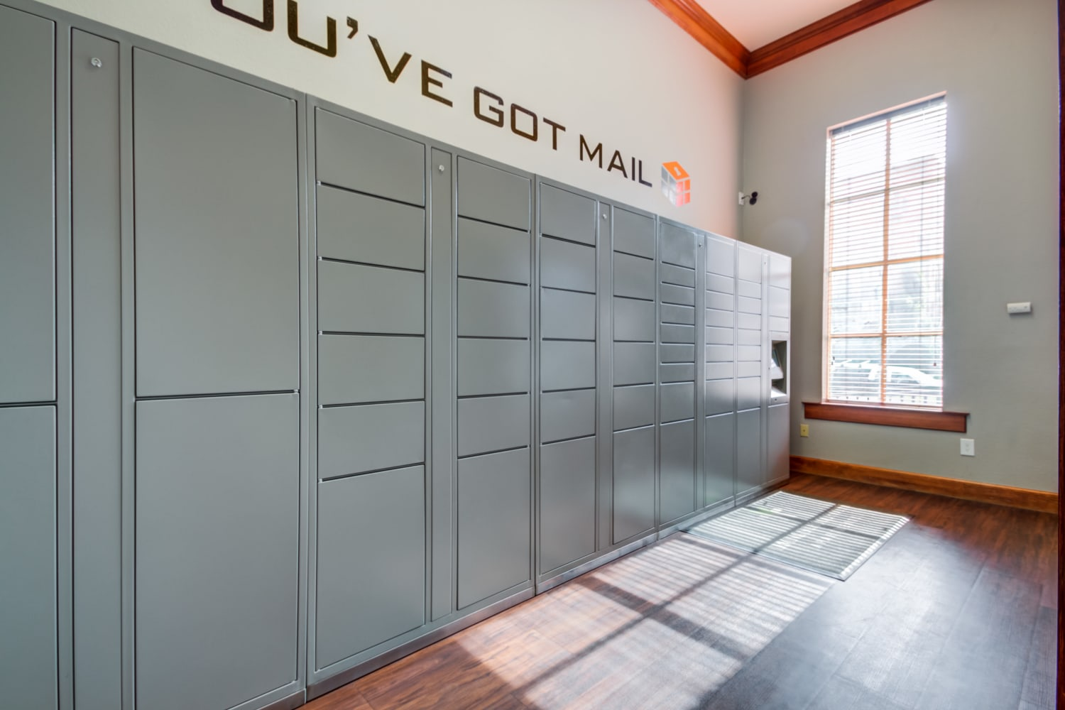 Mail room and parcel pick up center at Irving Schoolhouse Apartments in Salt Lake City, Utah
