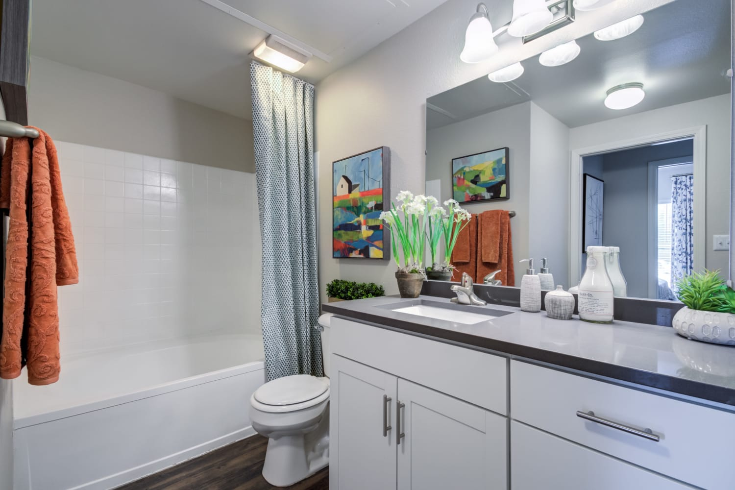 Bathroom at Irving Schoolhouse Apartments in Salt Lake City, Utah Features a shower bathtub and large vanity mirror