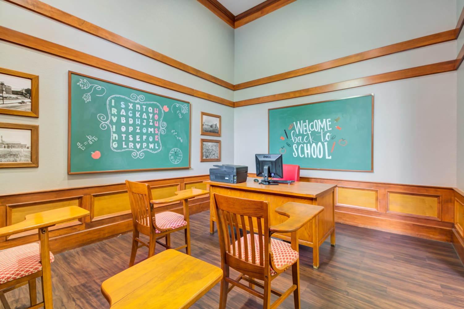 Old classroom interior at Irving Schoolhouse Apartments in Salt Lake City, Utah