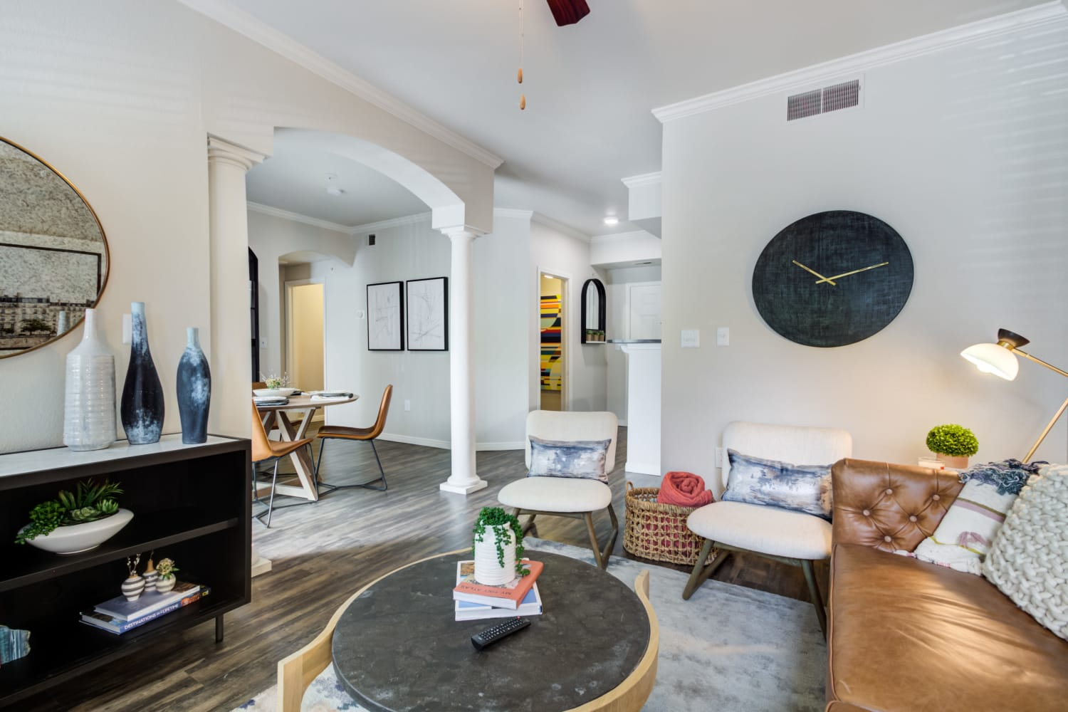 Living room space with couches and other fine furnishings in an apartment at Irving Schoolhouse Apartments in Salt Lake City, Utah