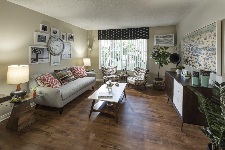 Living room at UCE Apartment Homes in Fullerton, California