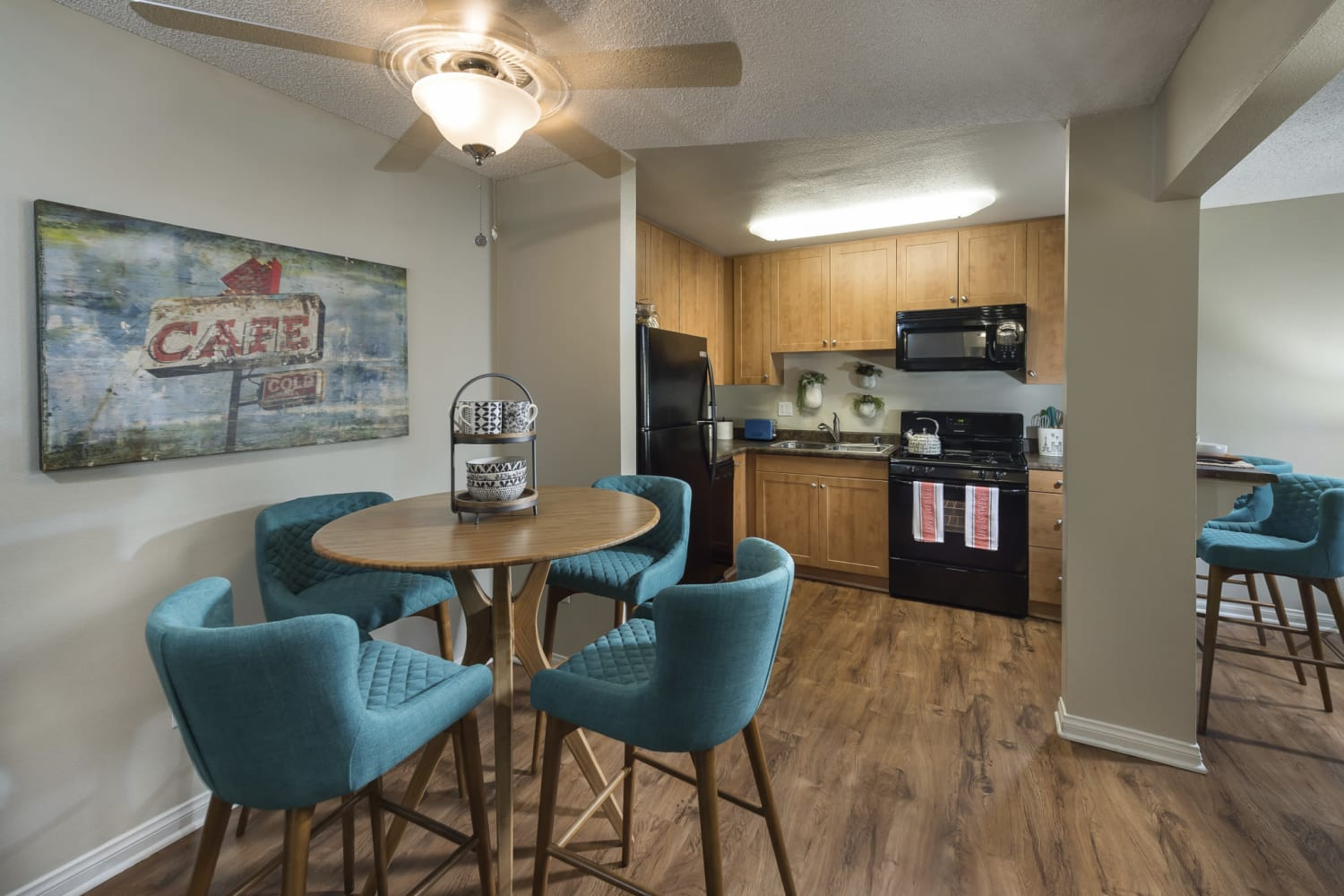 Dining room at UCE Apartment Homes in Fullerton, California