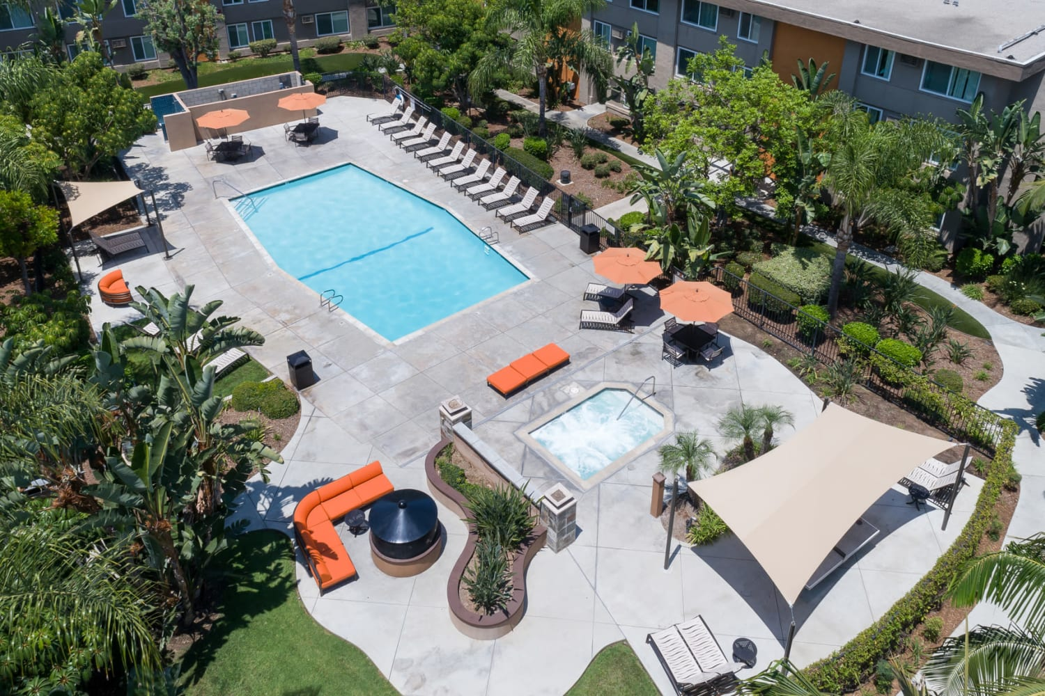 Aerial view of swimming pool at UCA Apartment Homes in Fullerton, California