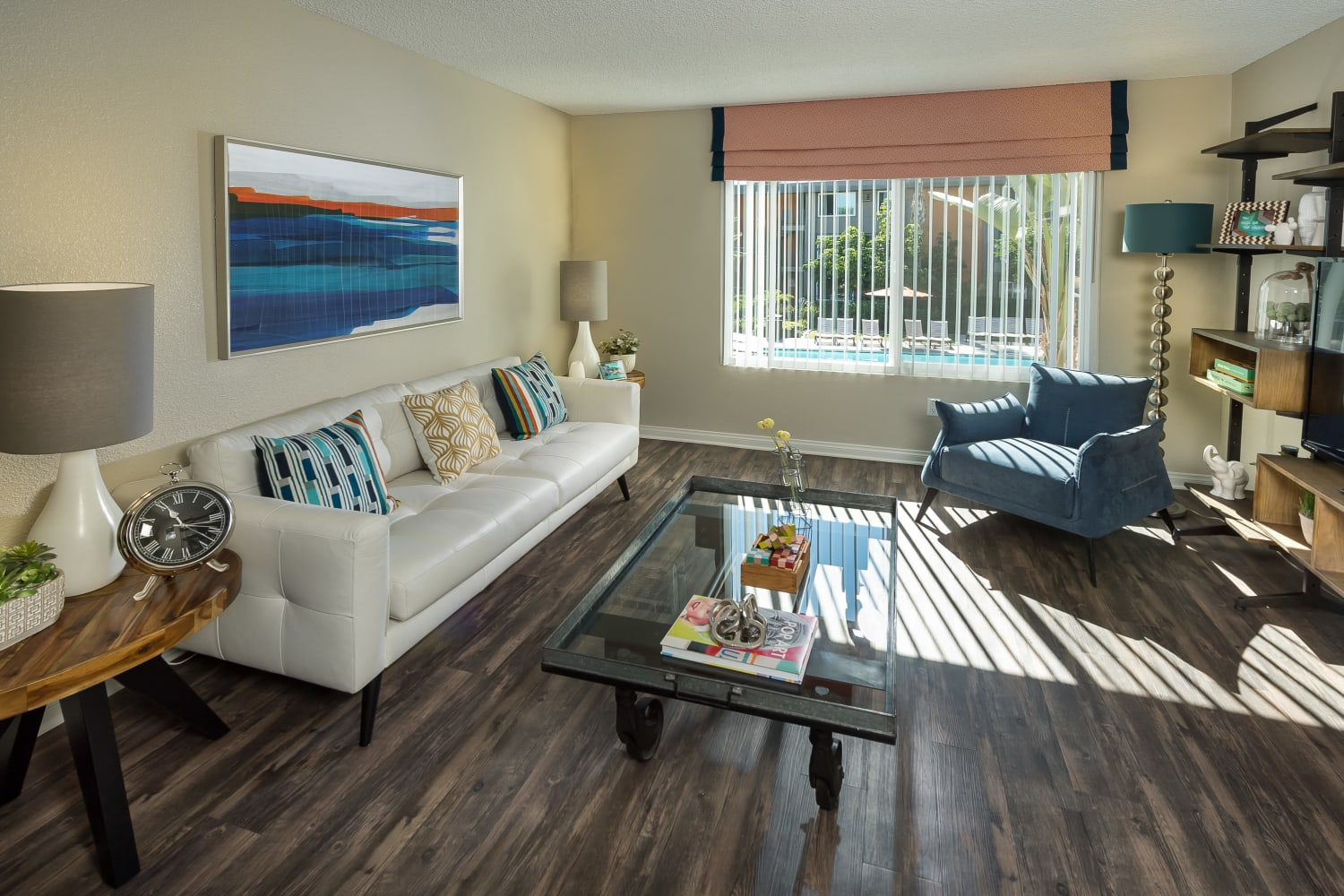 Living room at UCA Apartment Homes in Fullerton, California