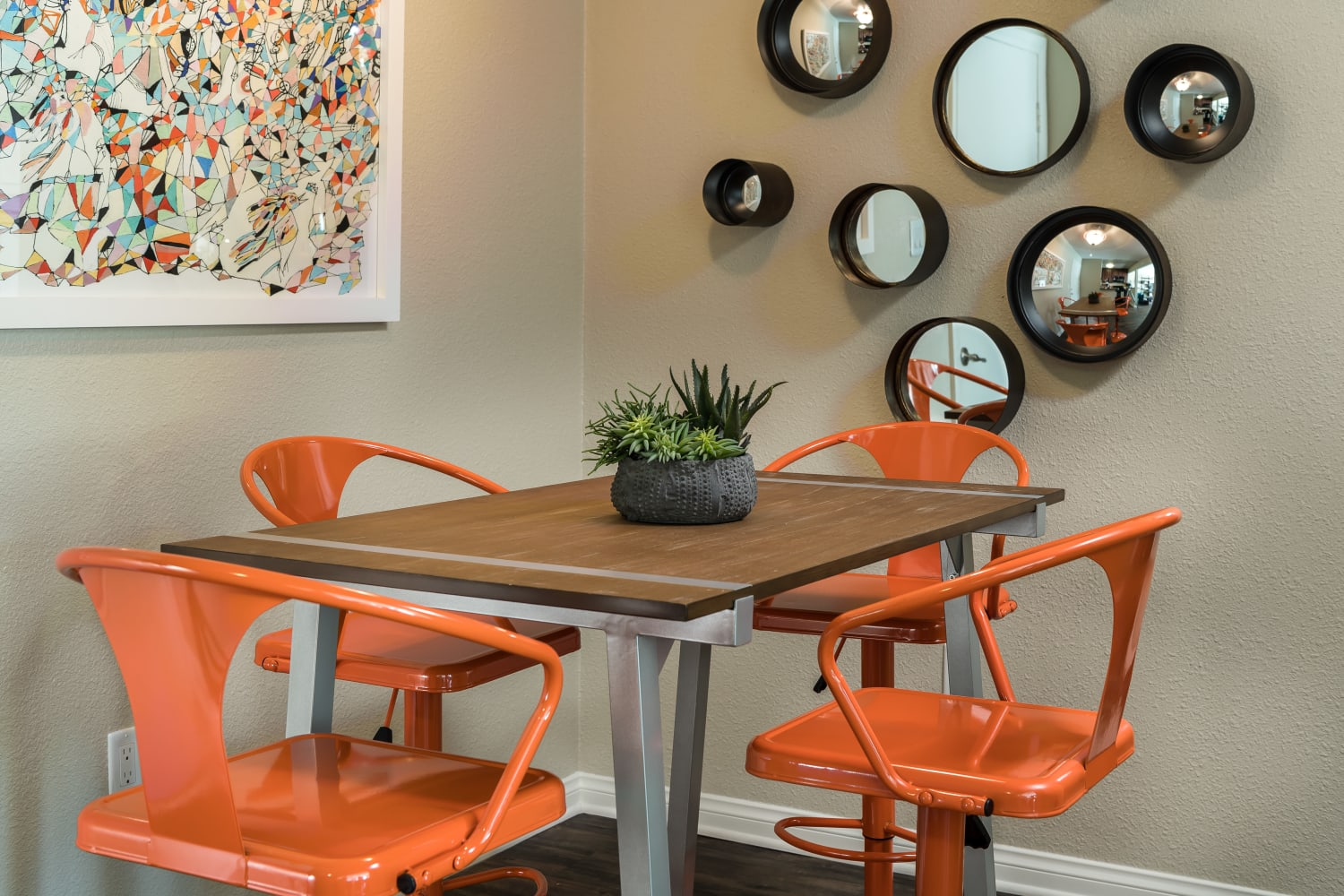 Dining room at UCA Apartment Homes in Fullerton, California