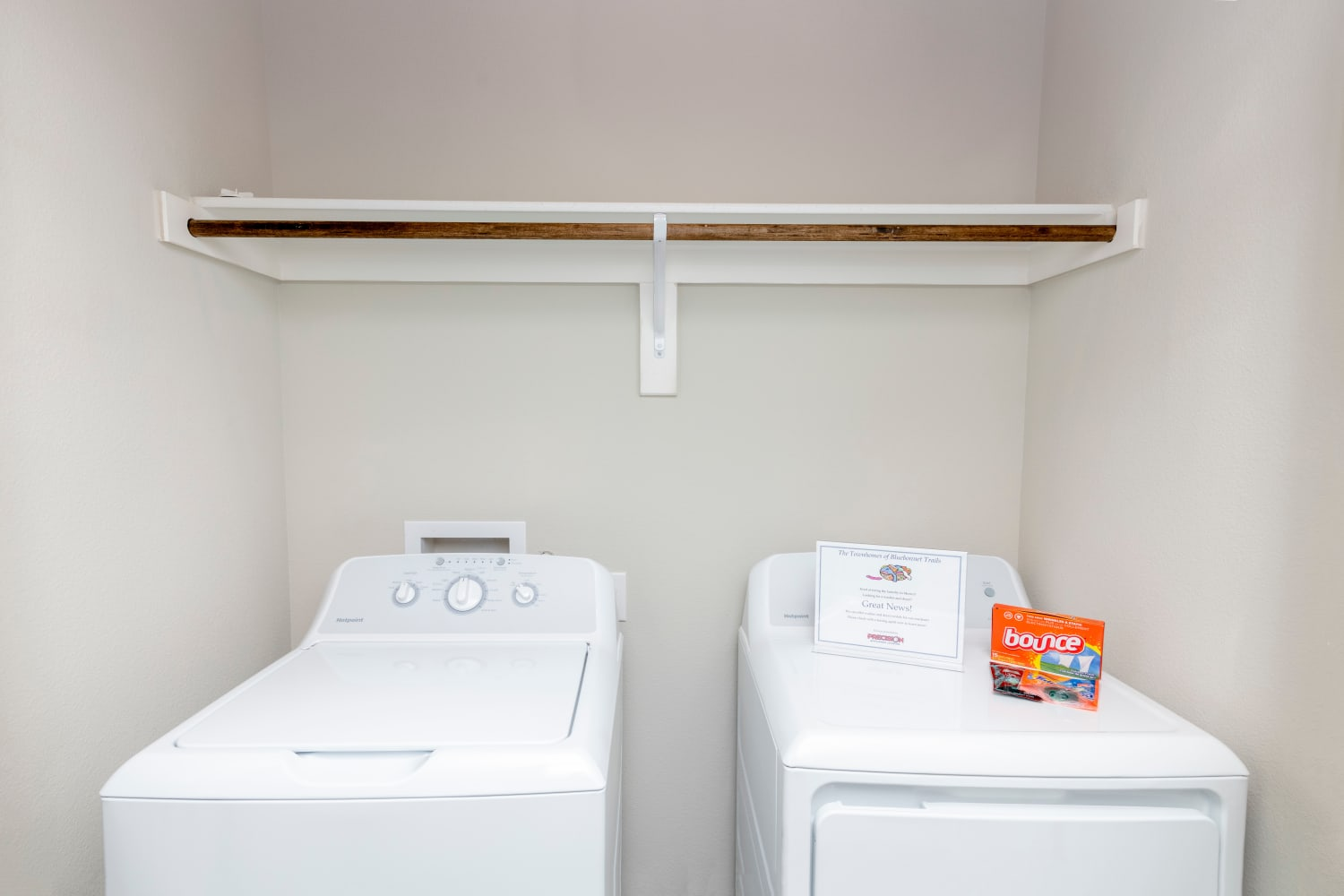 Laundry closet in a unit at Waxahachie, Texas