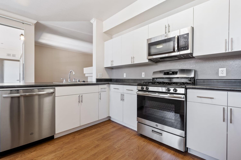 Stainless steel appliances in kitchens at Park Hacienda Apartments in Pleasanton, California
