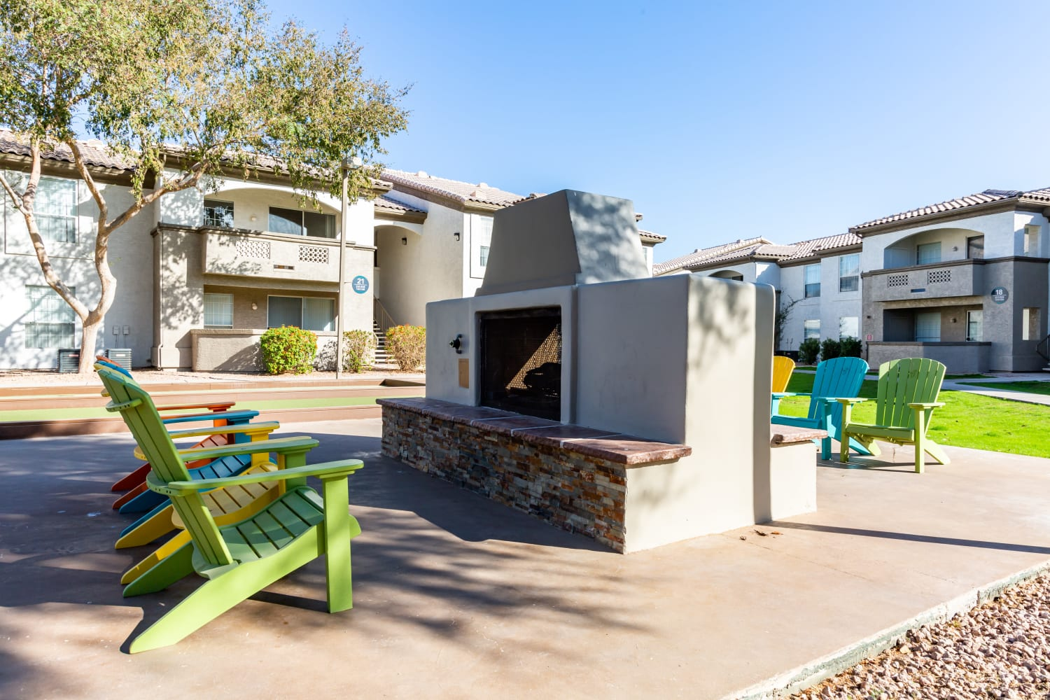 Outdoor fire pit at Ocotillo Bay Apartments in Chandler, Arizona