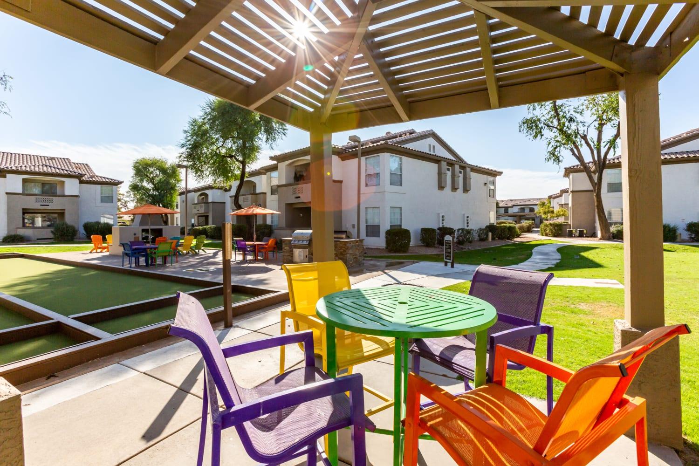 Gazebo seating outside at Ocotillo Bay Apartments in Chandler, Arizona