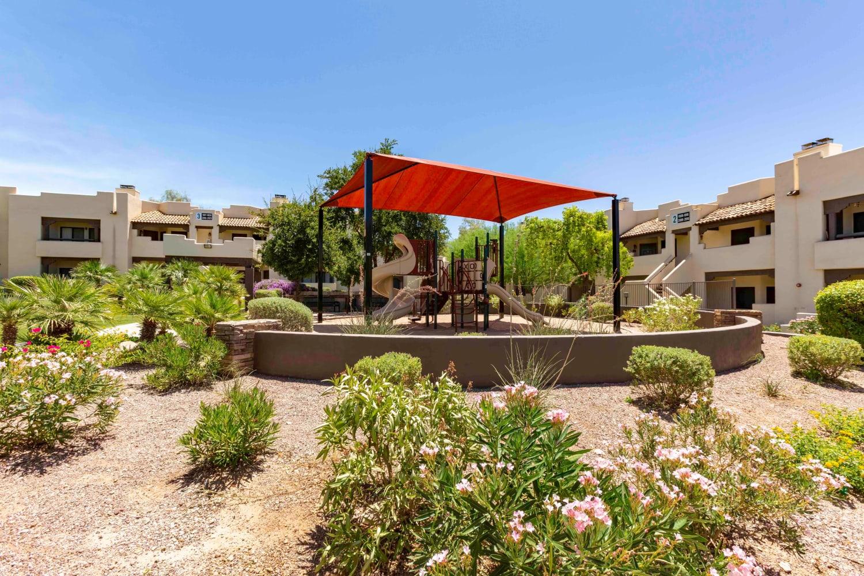 Aerial view of the facade at Casa Santa Fe Apartments in Scottsdale, Arizona