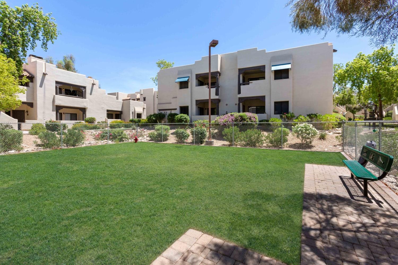 Walking path at Casa Santa Fe Apartments in Scottsdale, Arizona