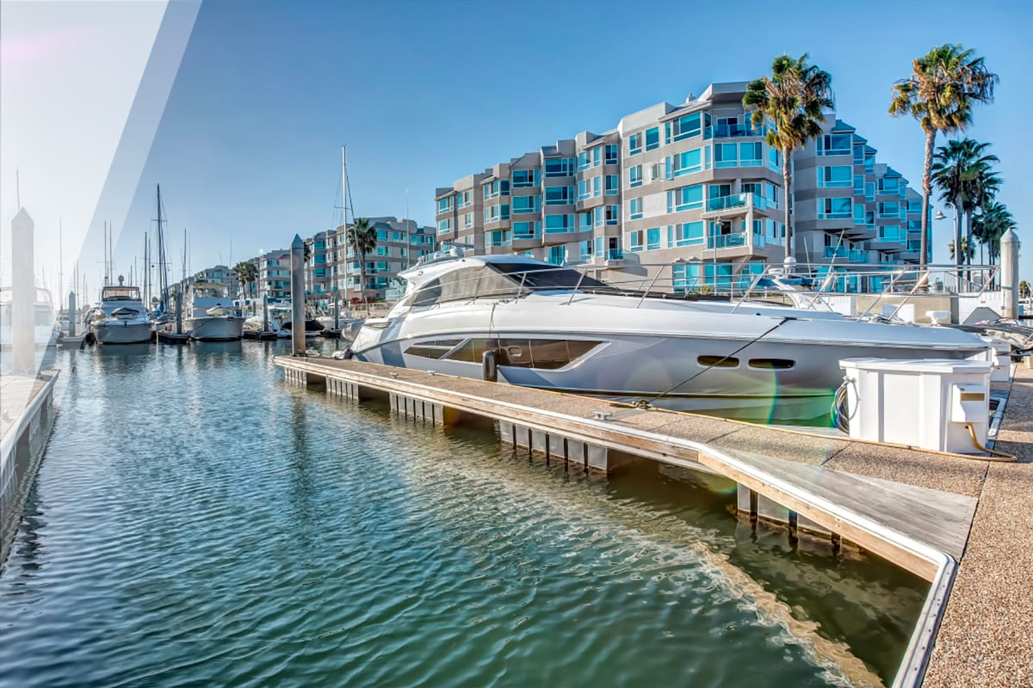 Yacht moored at the marina at our Esprit property at E&S Ring Management Corporation in Los Angeles, California