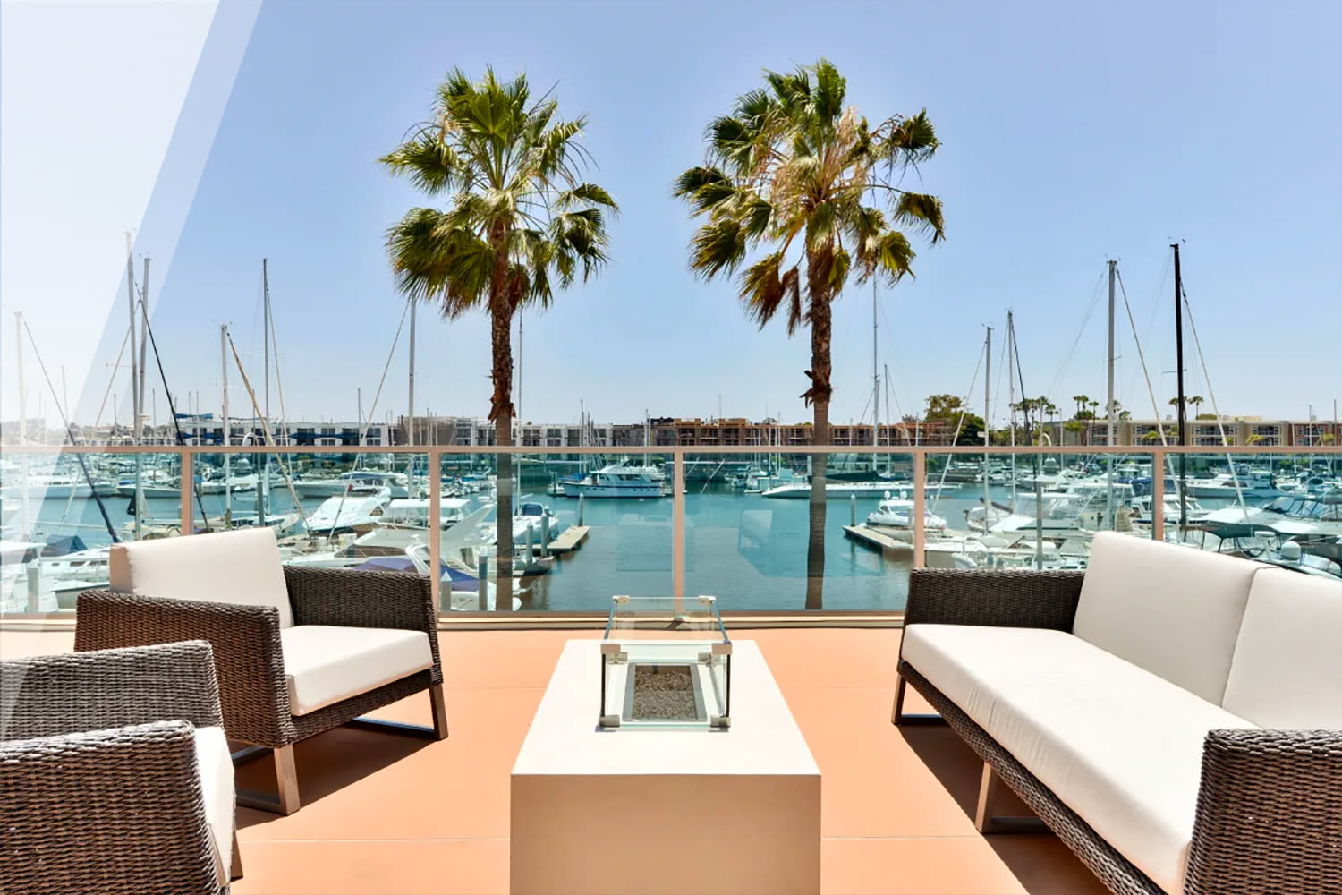 Lounge area overlooking the marina at our Esprit property at E&S Ring Management Corporation in Los Angeles, California