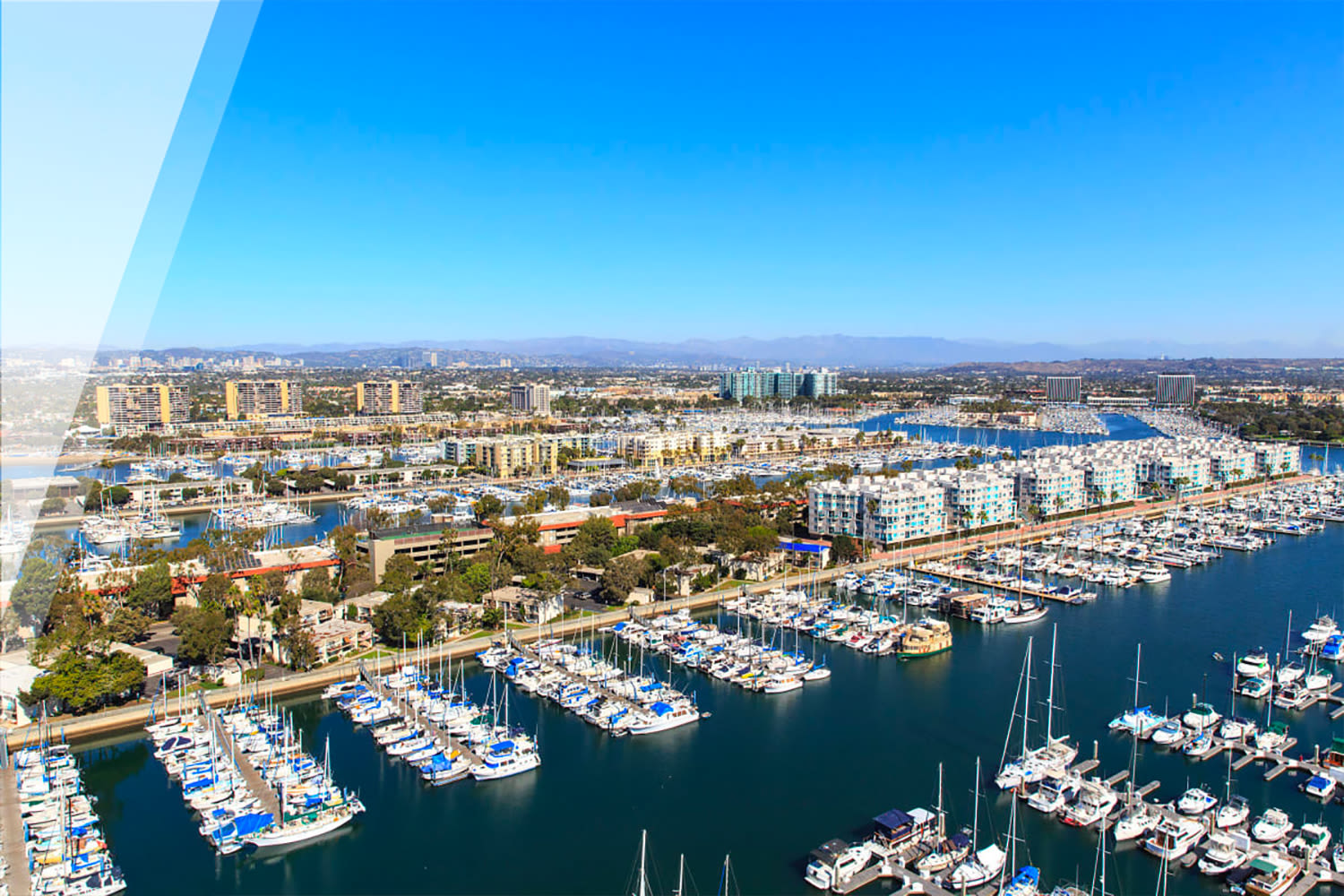 Aerial view of yachts in slips at our Esprit property at E&S Ring Management Corporation in Los Angeles, California