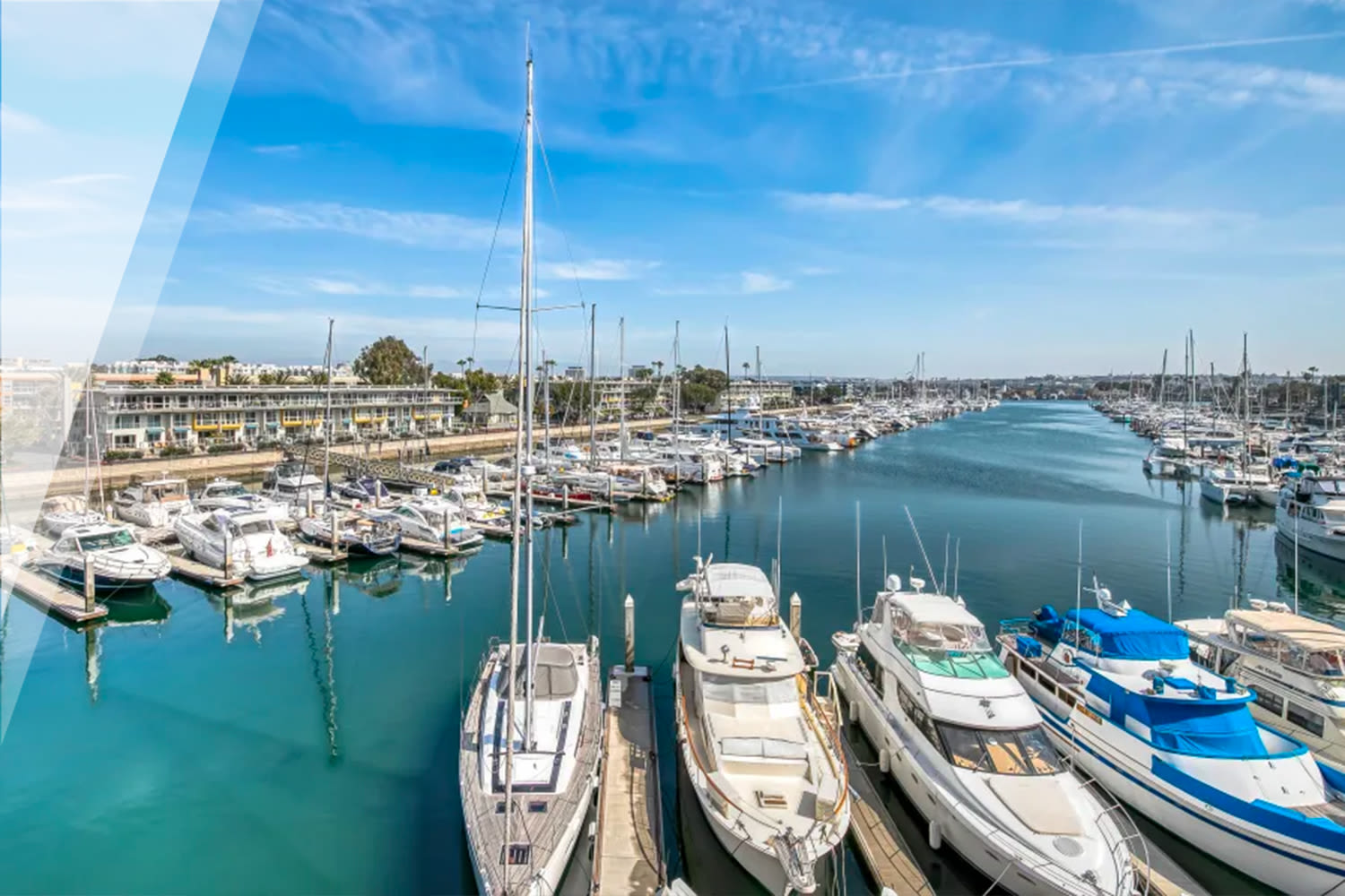 Beautiful blue sky above the marina at our Marina Harbor property at E&S Ring Management Corporation in Los Angeles, California
