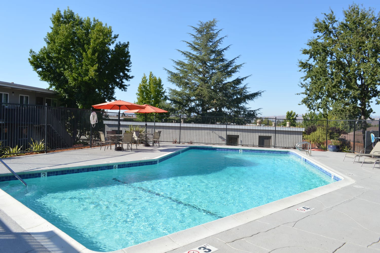 Gorgeous day the swimming pool area at Pleasanton Heights in Pleasanton, California