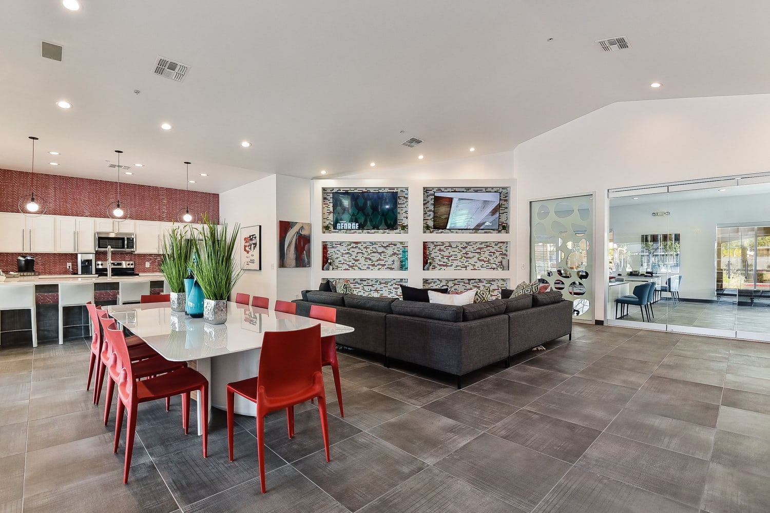 Enjoy access to the modern clubhouse at Luxe @ Ocotillo in Chandler, Arizona