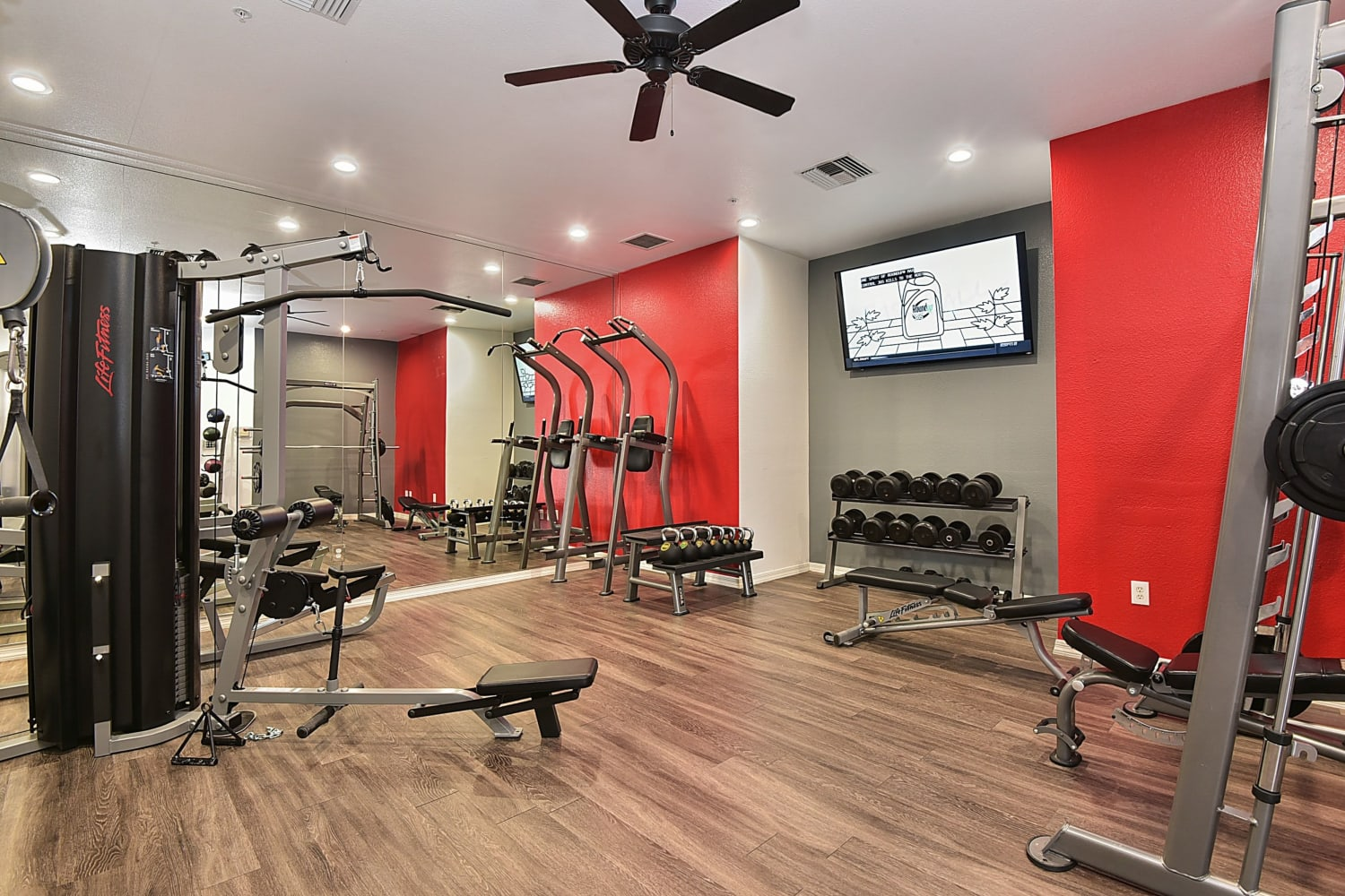 Weight room at Luxe @ Ocotillo in Chandler, Arizona