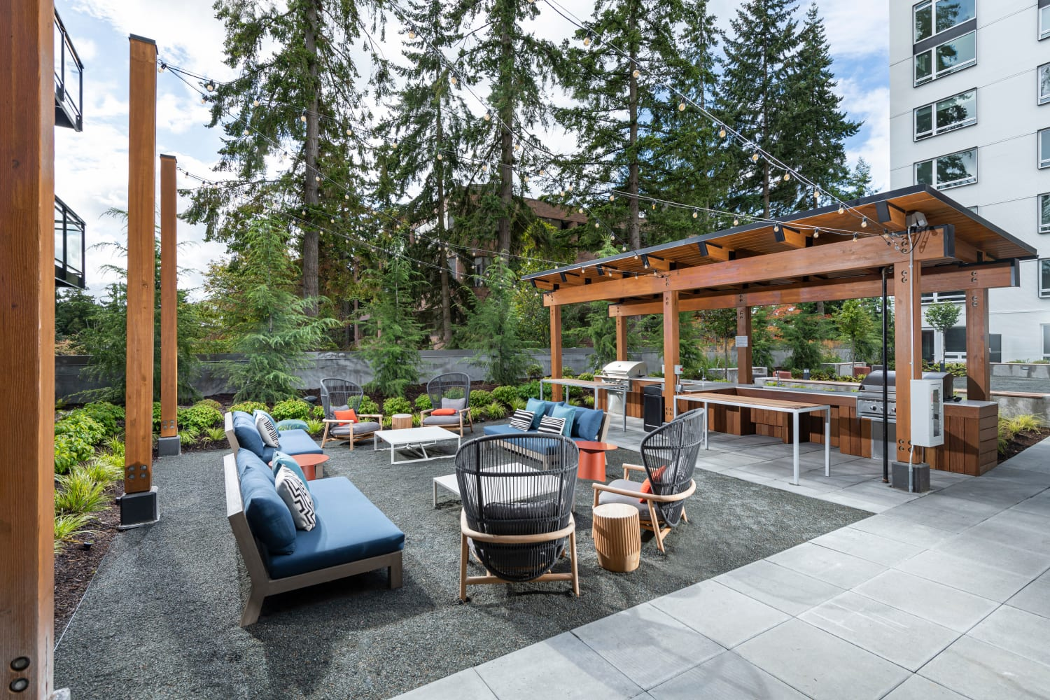 BBQ and picnic area at Nightingale in Redmond, Washington