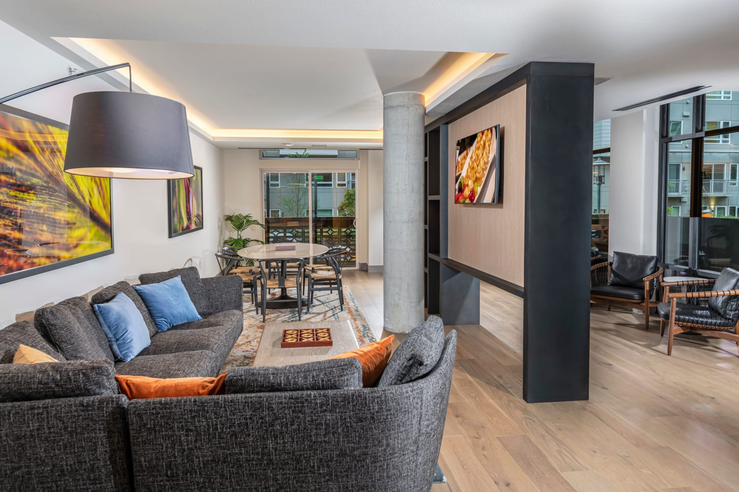 TVs and couches for residents at Nightingale in Redmond, Washington