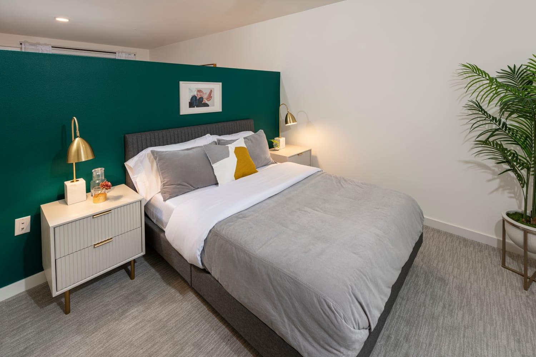 Model apartment bedroom at Nightingale in Redmond, Washington
