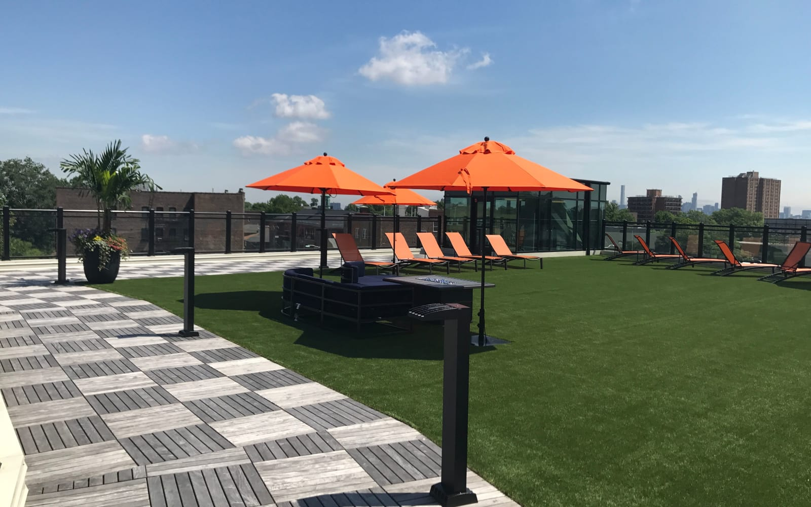 Outdoor amenities at The Centre in Cliffside Park, NJ