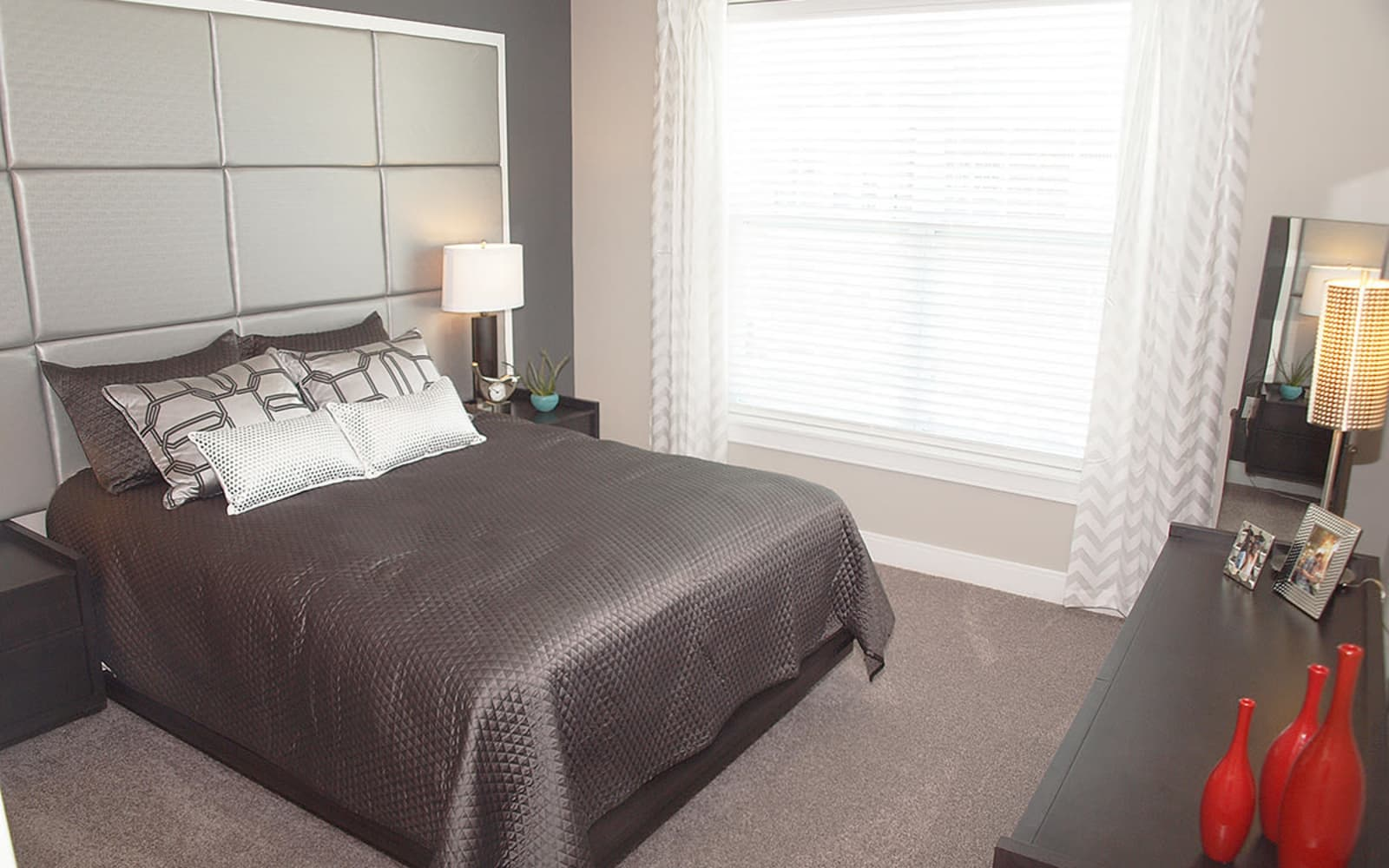 Beautiful bedroom at Allure Apartments in Centerville, Ohio