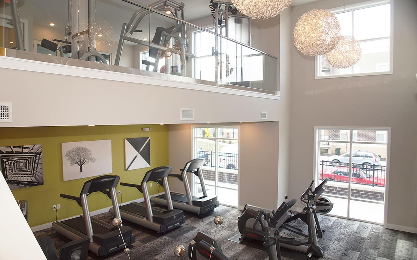 Fitness center at Allure Apartments in Centerville, Ohio