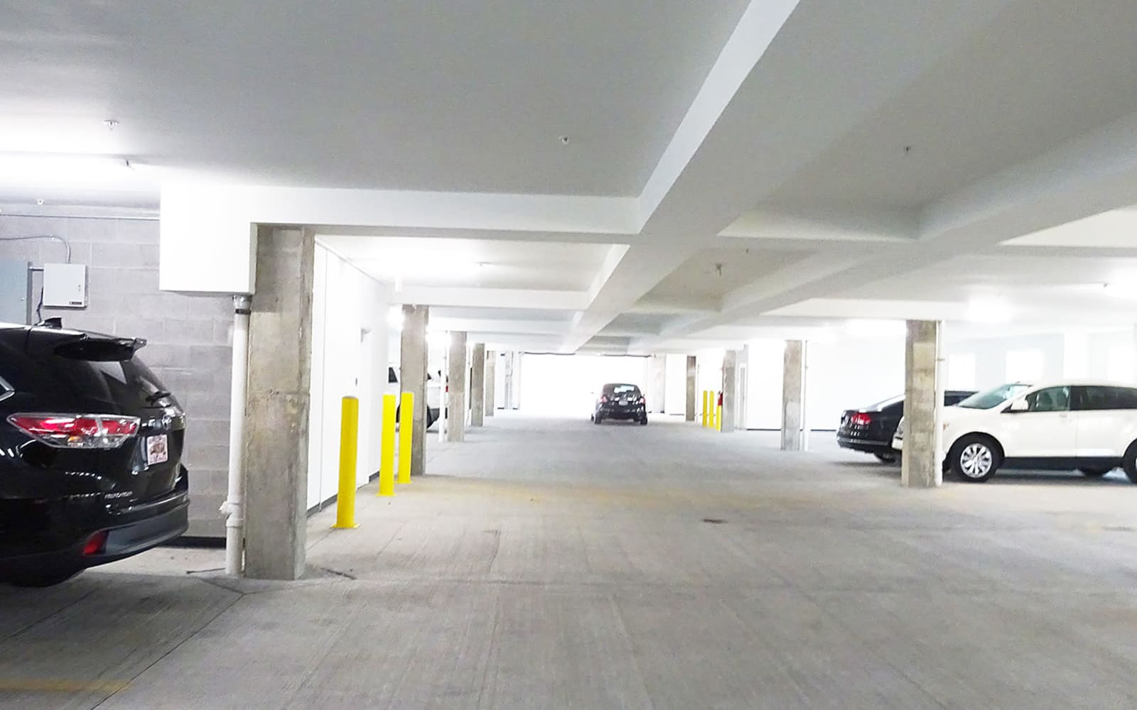Spacious parking garage at Allure Apartments in Centerville, Ohio