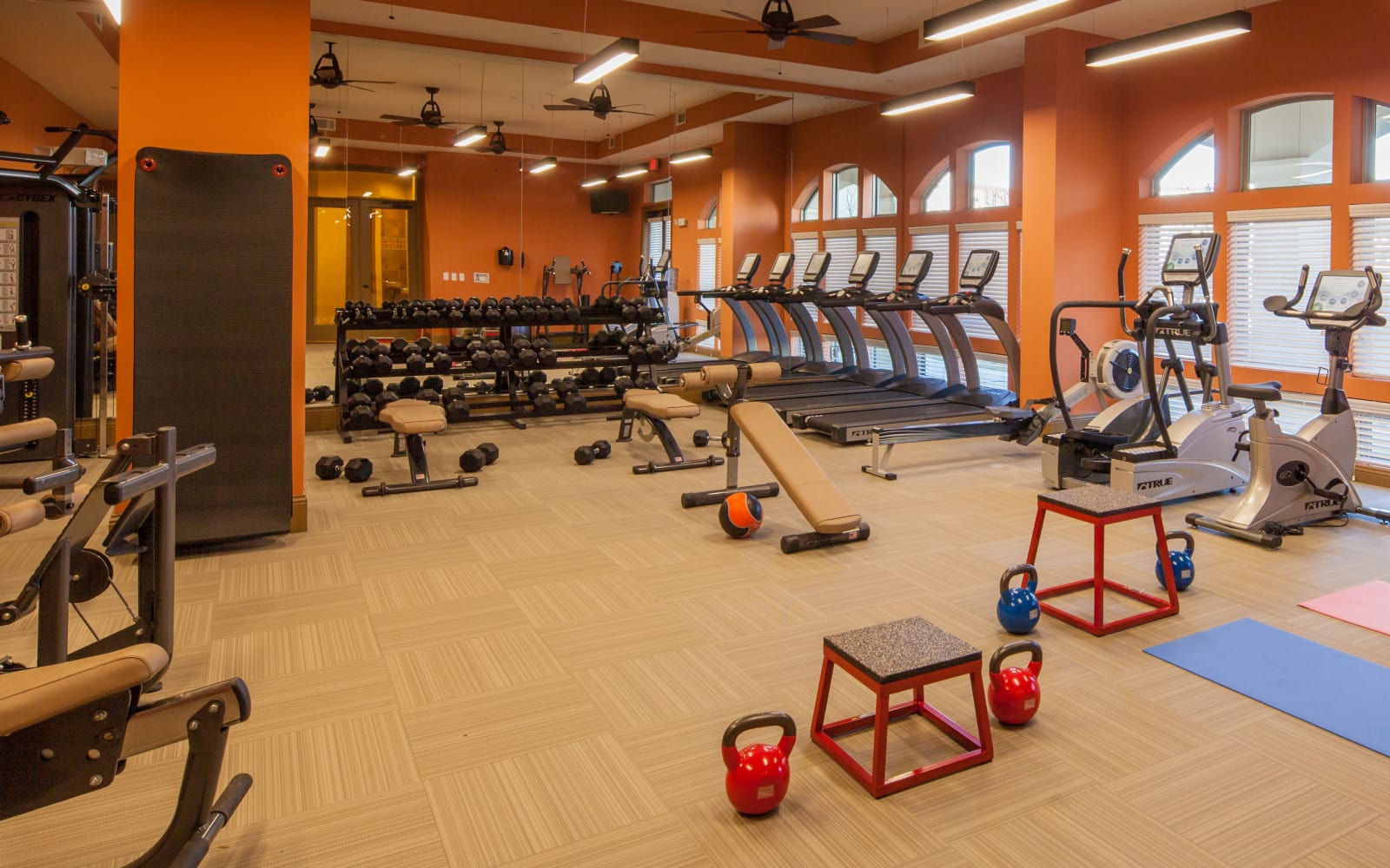 Fitness center at The High Grove in Baton Rouge, Louisiana
