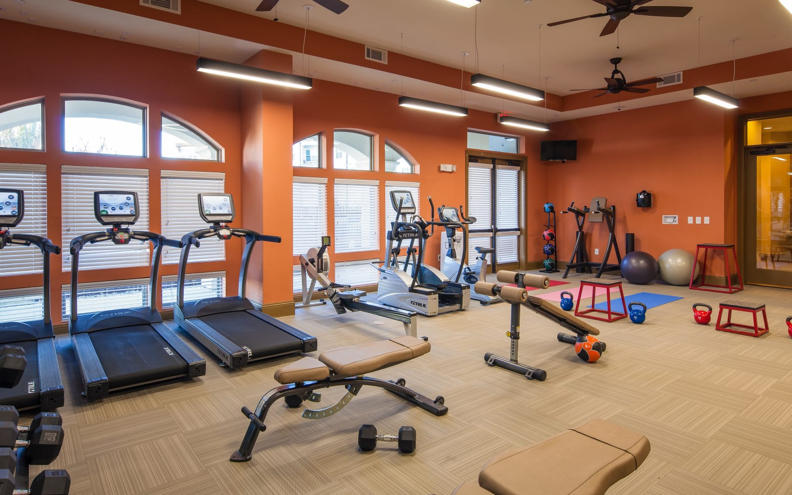 Modern fitness center at The High Grove in Baton Rouge, Louisiana
