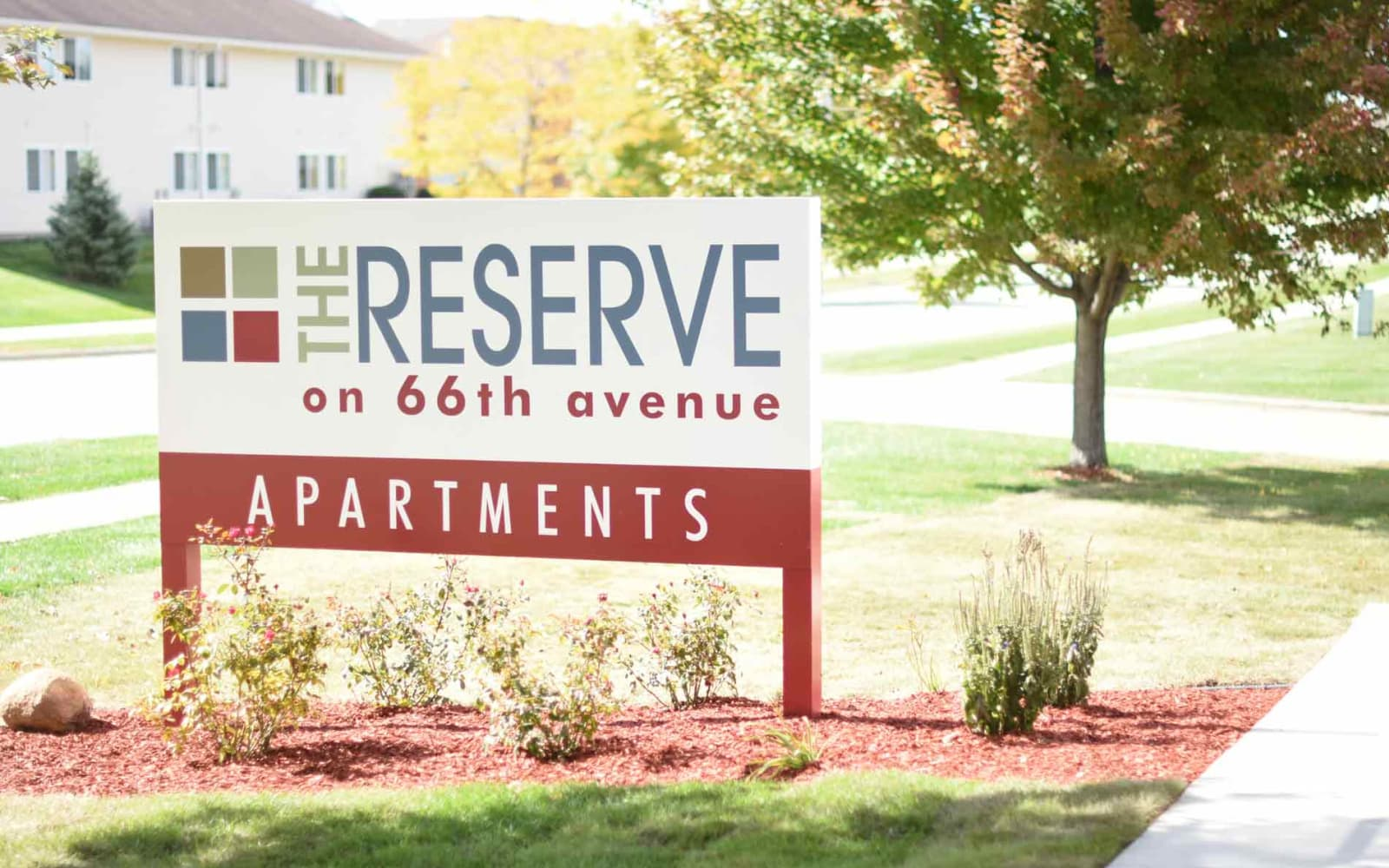 Branding and signage in front of Reserve at Kirkwood in Cedar Rapids, Iowa