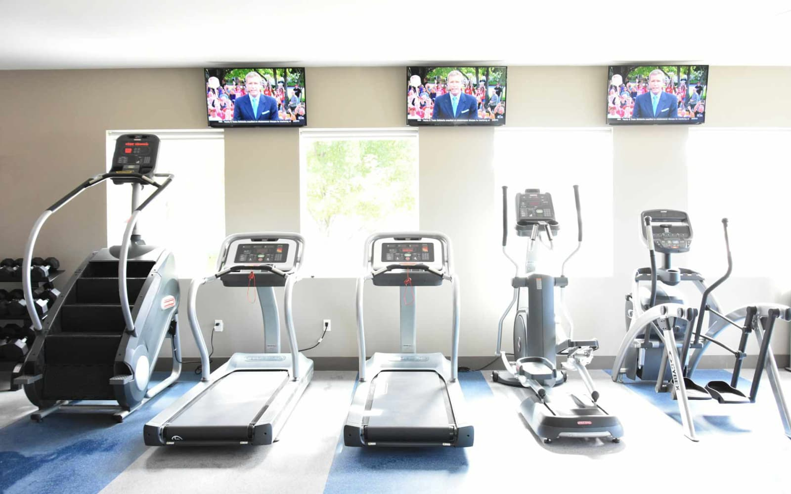 Equipped resident gym at Reserve at Kirkwood in Cedar Rapids, Iowa