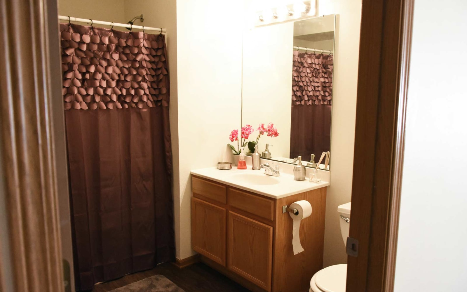 Apartment bathroom at Reserve at Kirkwood in Cedar Rapids, Iowa