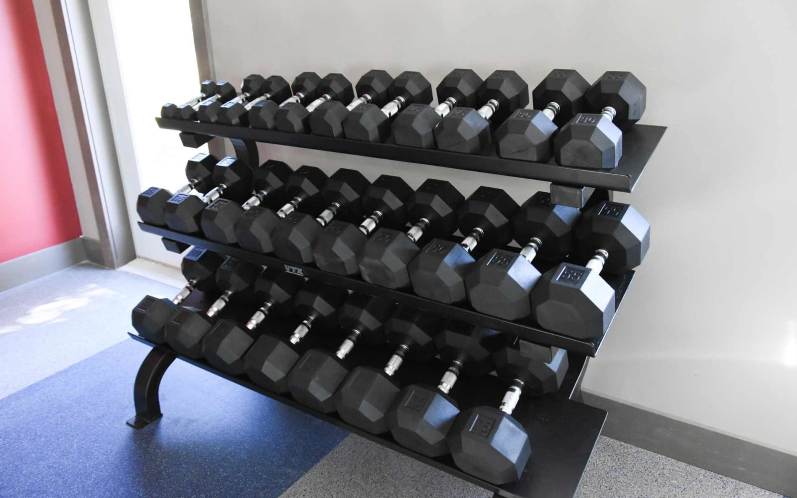 Various weights in the gym at Reserve at Kirkwood in Cedar Rapids, Iowa