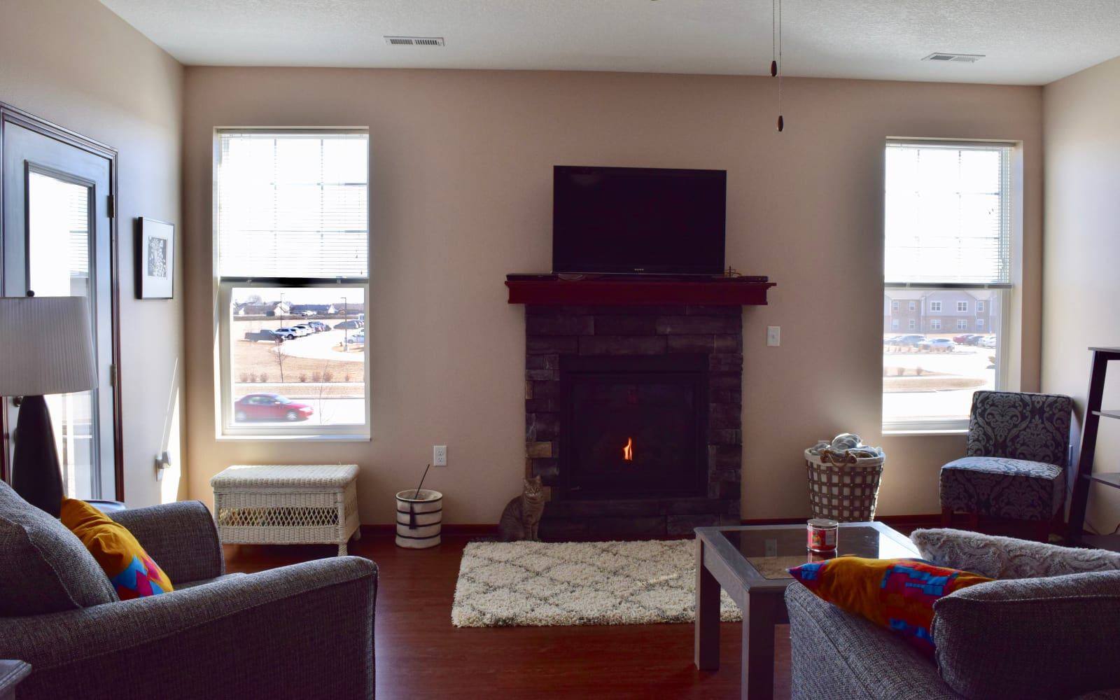 Well decorated living room with a cat next to the fireplace at Ironwood in Altoona, Iowa