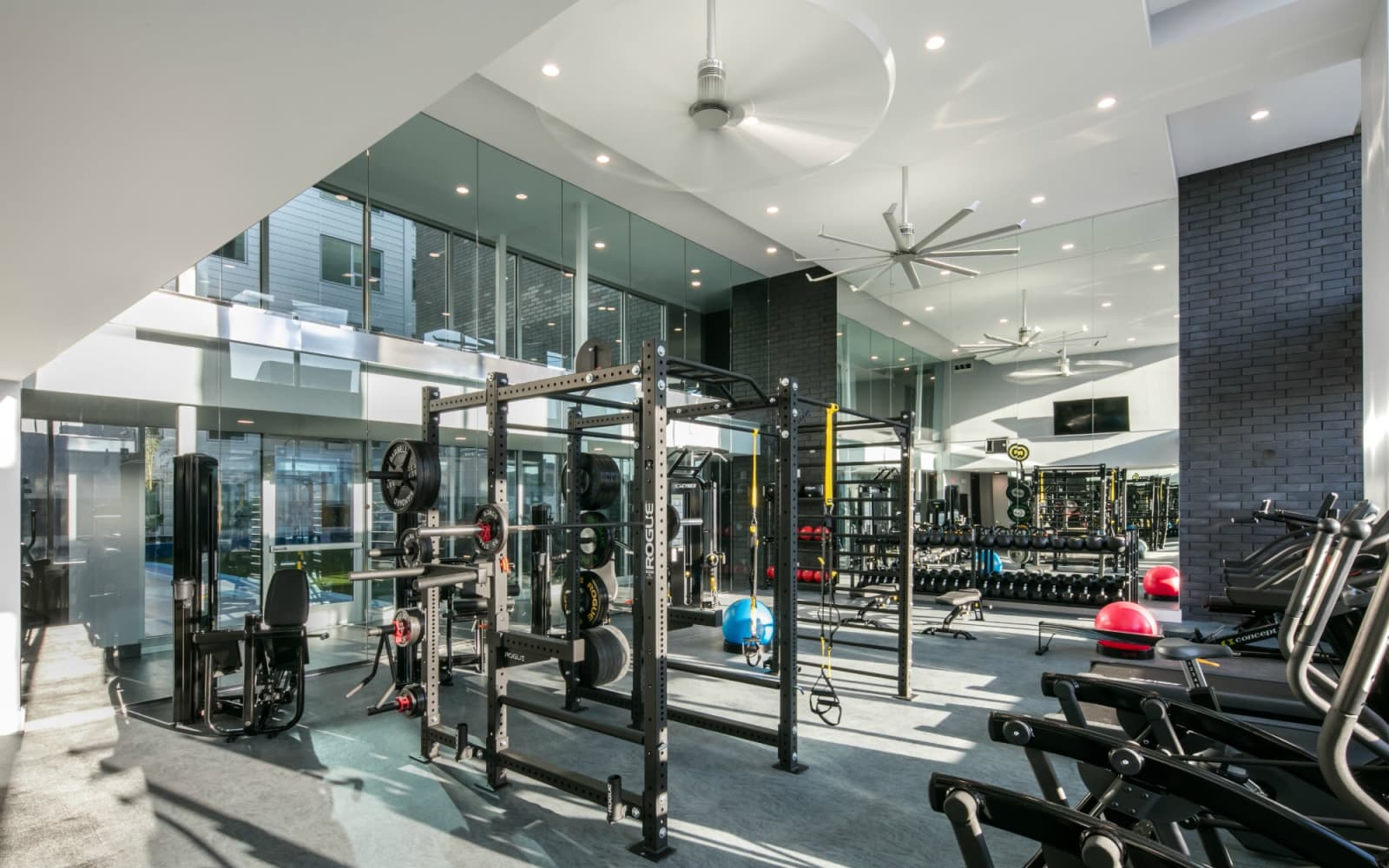 Modern fitness center at The Beacon at South Market in New Orleans, Louisiana