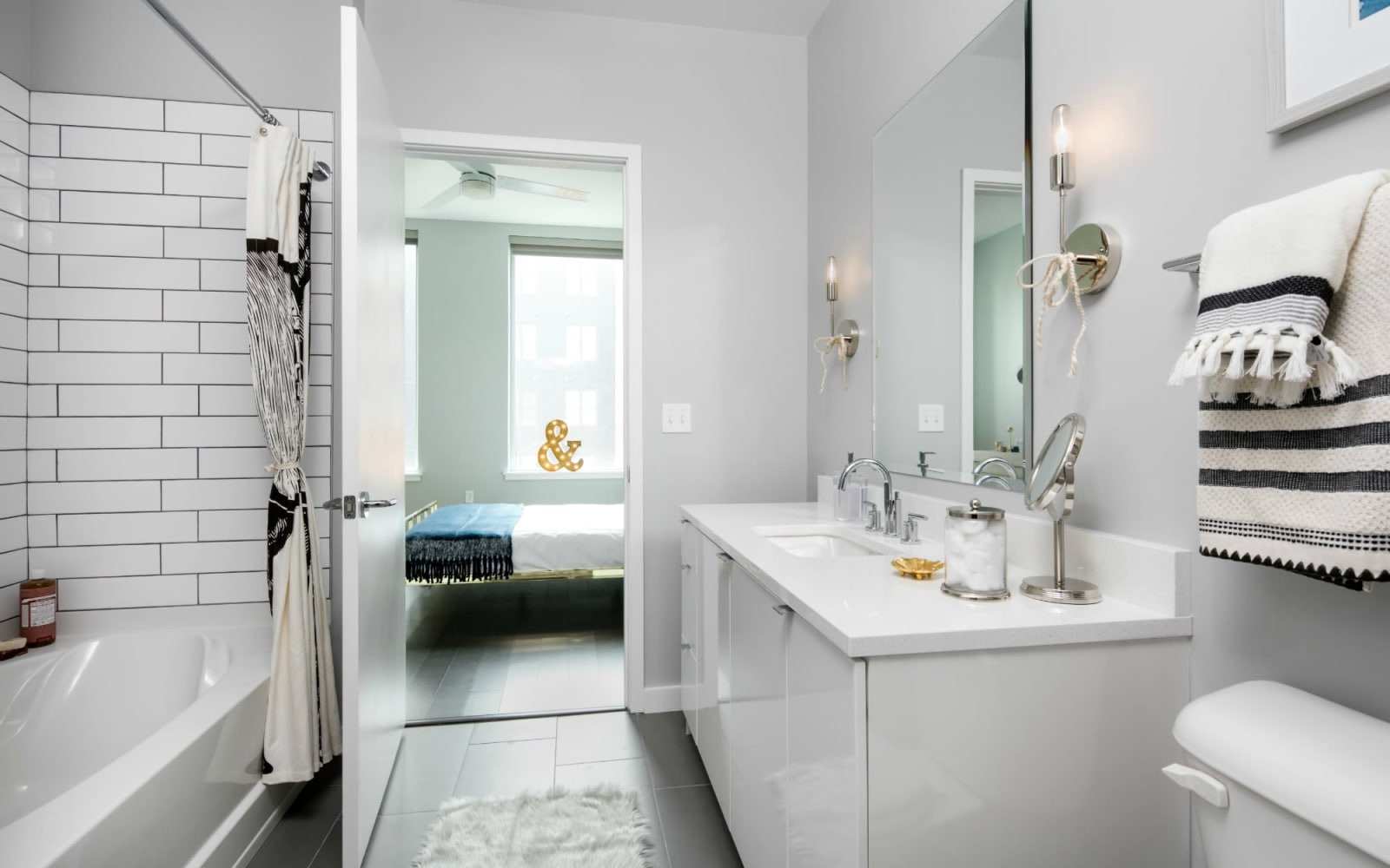 Modern bathroom at The Beacon at South Market in New Orleans, Louisiana