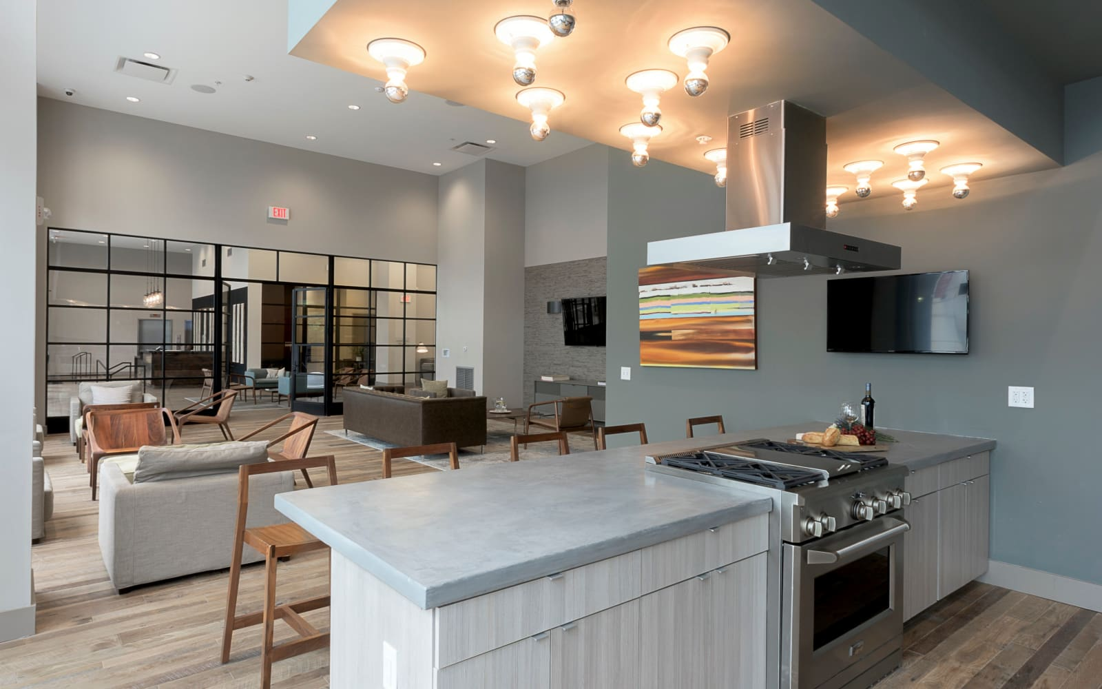 Modern clubhouse with a kitchen at The Paramount at South Market in New Orleans, Louisiana