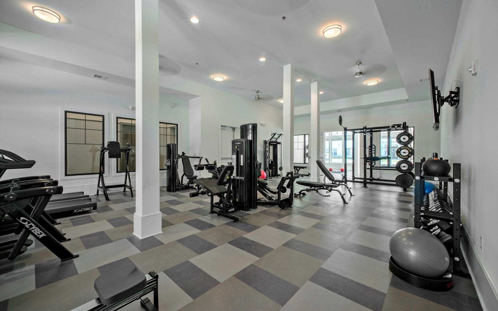 Spacious fitness center at The Addison in Baton Rouge, Louisiana