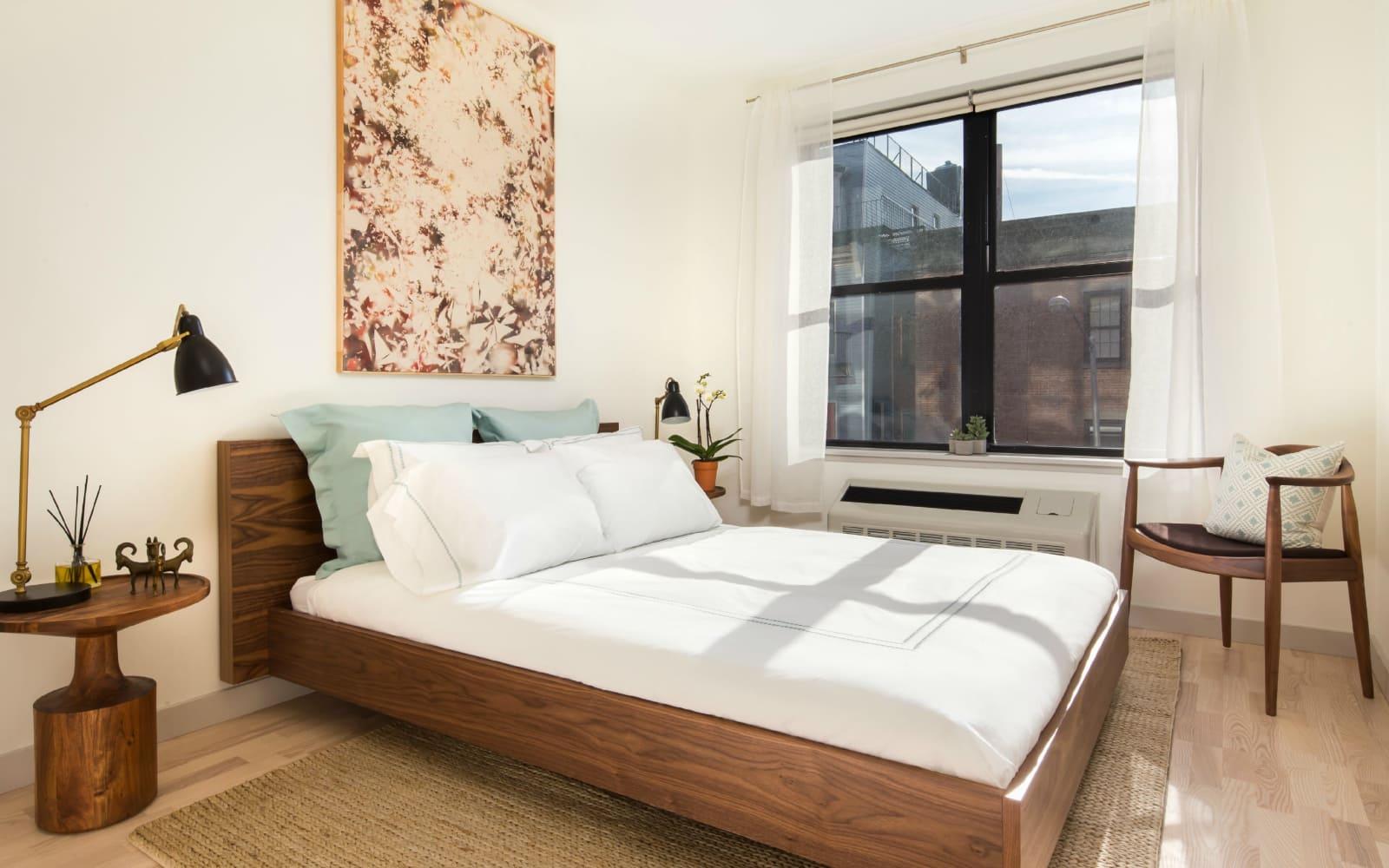 Bright bedroom at Eleven33 in Brooklyn, New York