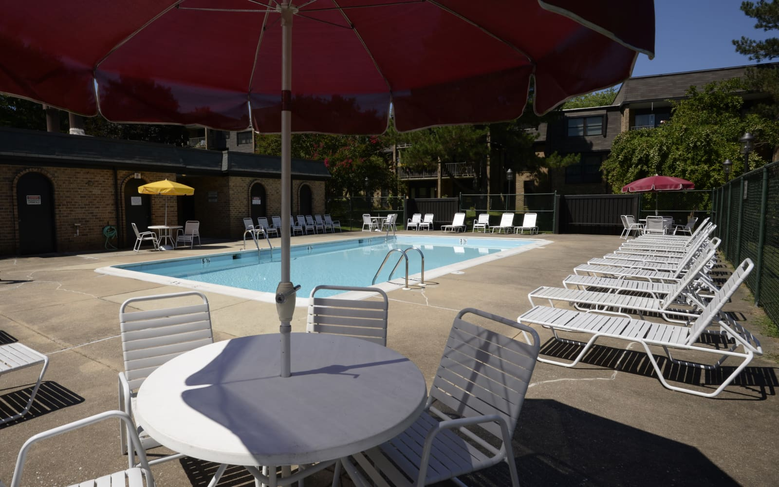 Pool area at Charlesgate Apartments in Towson, Maryland