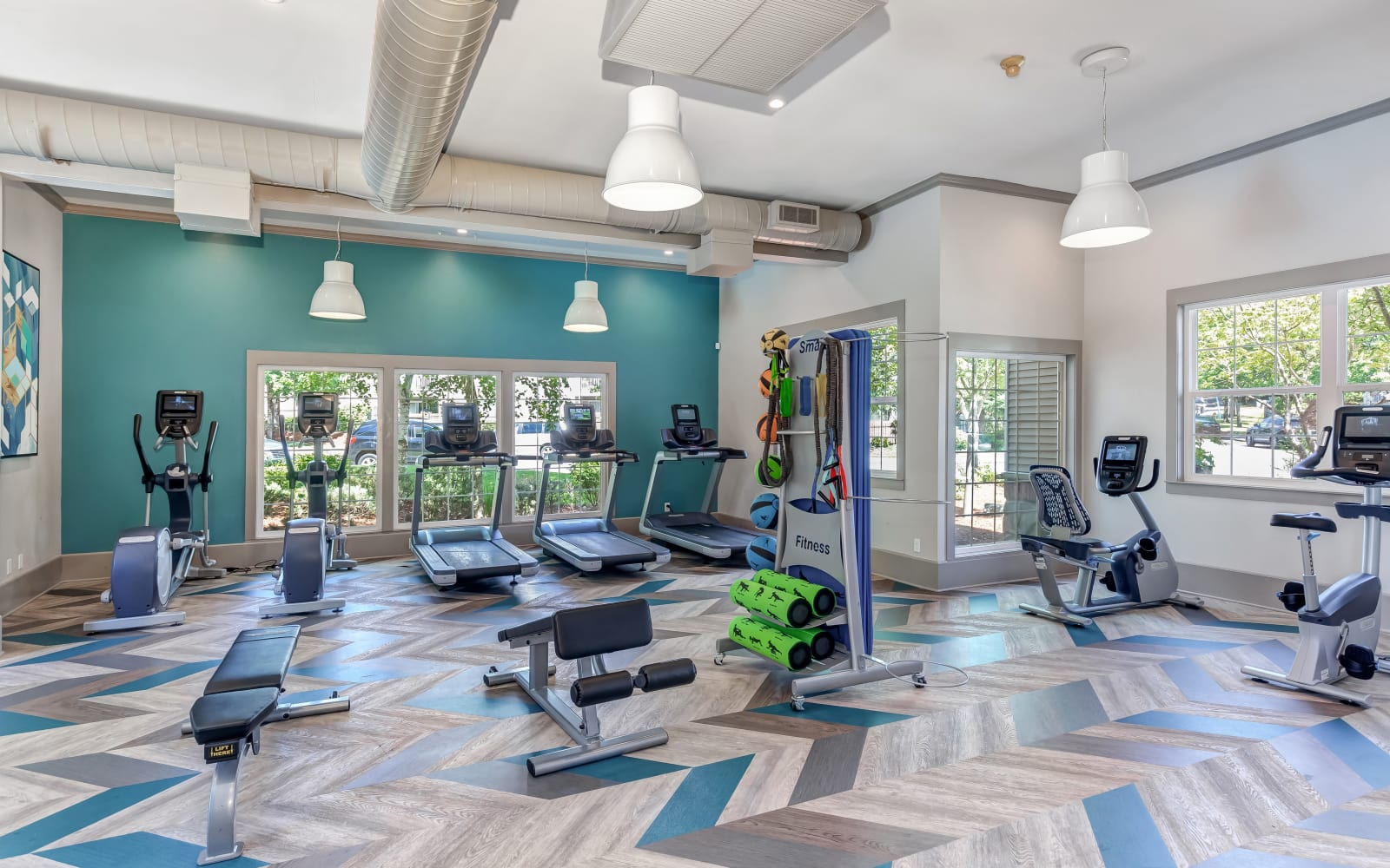 State-of-the-art modern fitness center at Alaire Apartments in Renton, Washington
