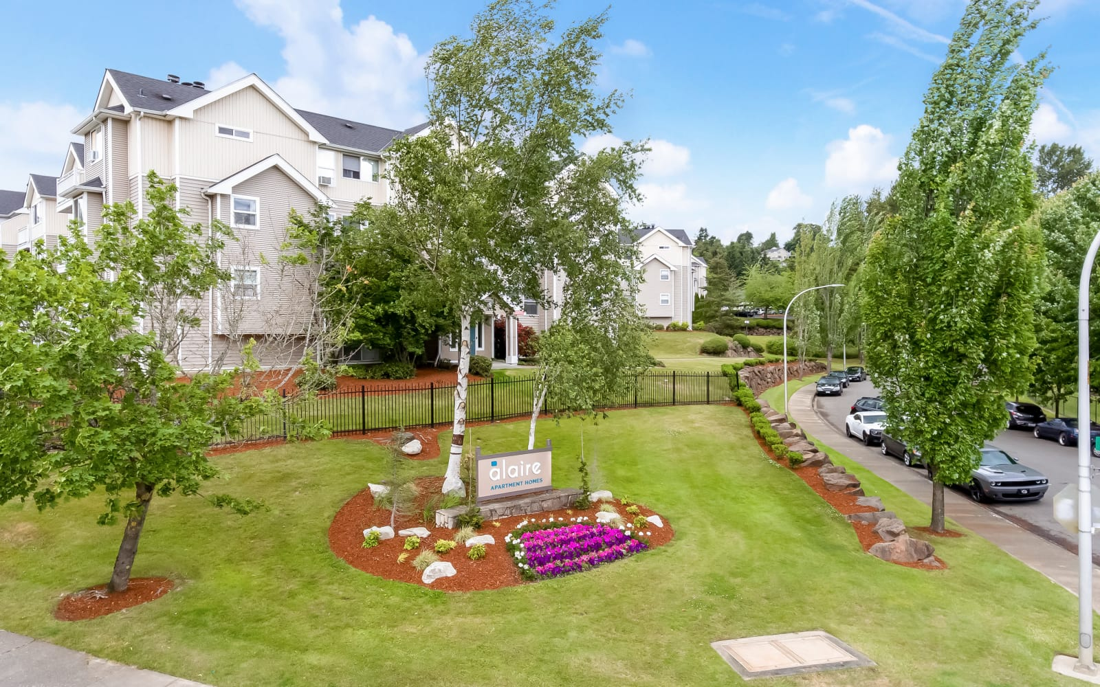 Lovely landscaping outside of Alaire Apartments in Renton, Washington