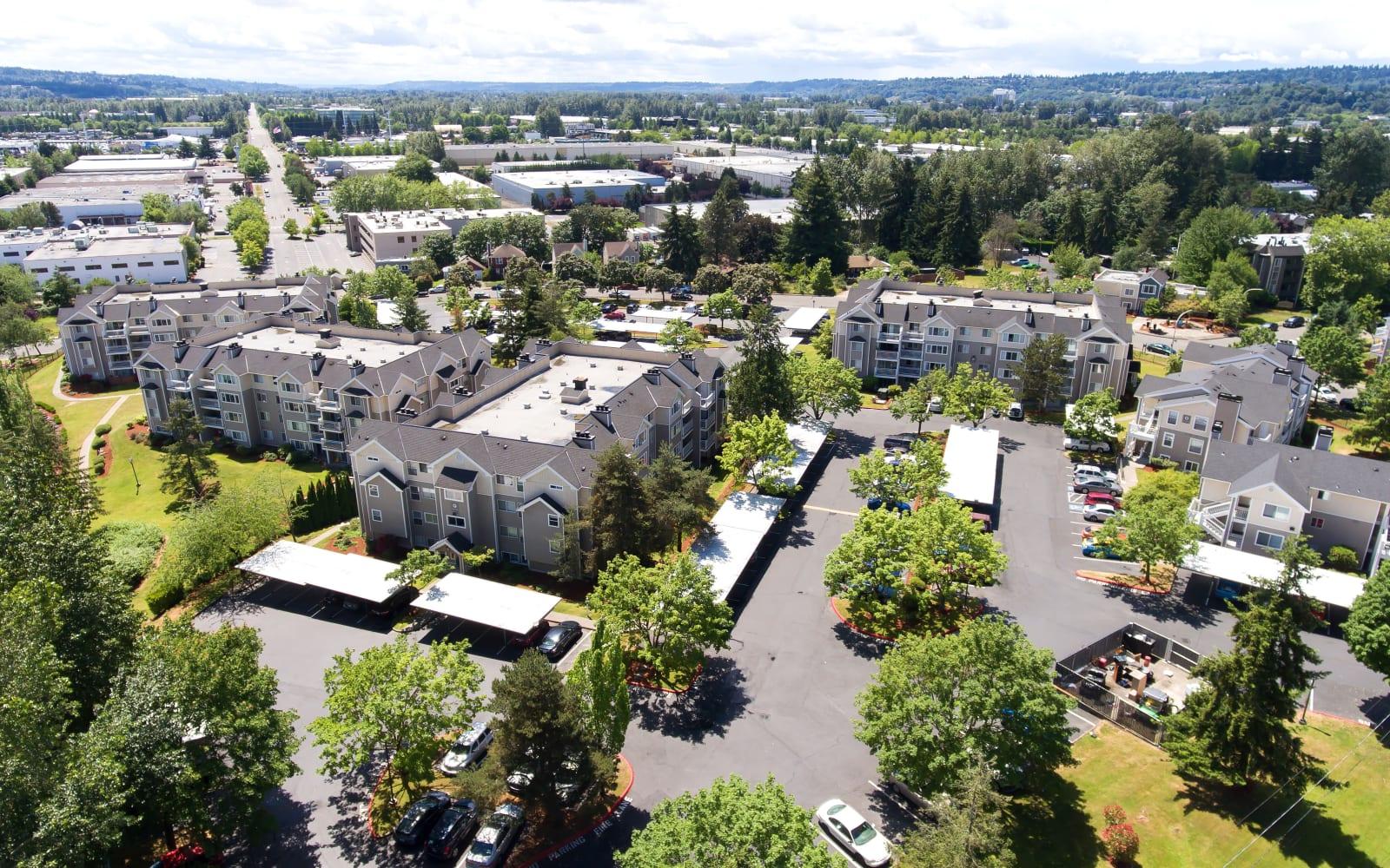 Alaire Apartments aerial view in Renton, Washington