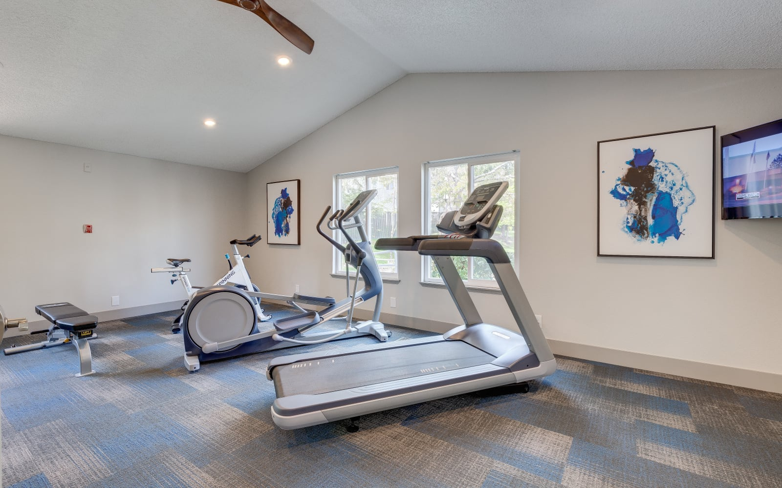 Treadmills in the fitness center at Alaire Apartments in Renton, Washington