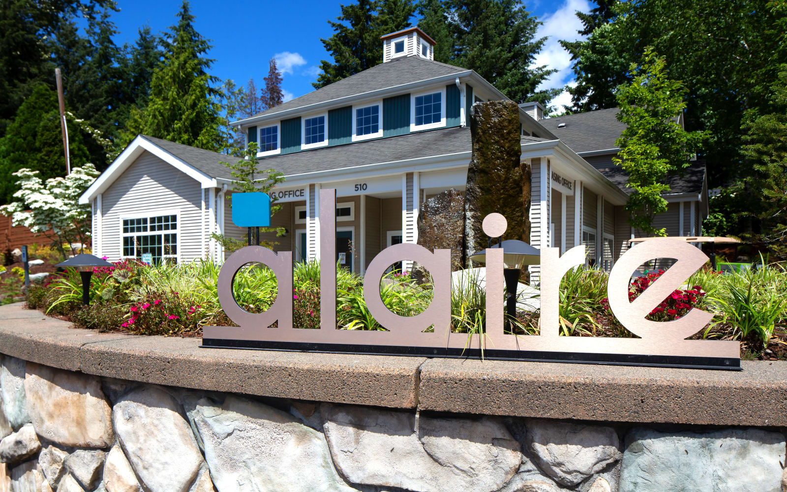 Monument sign outside of Alaire Apartments in Renton, Washington
