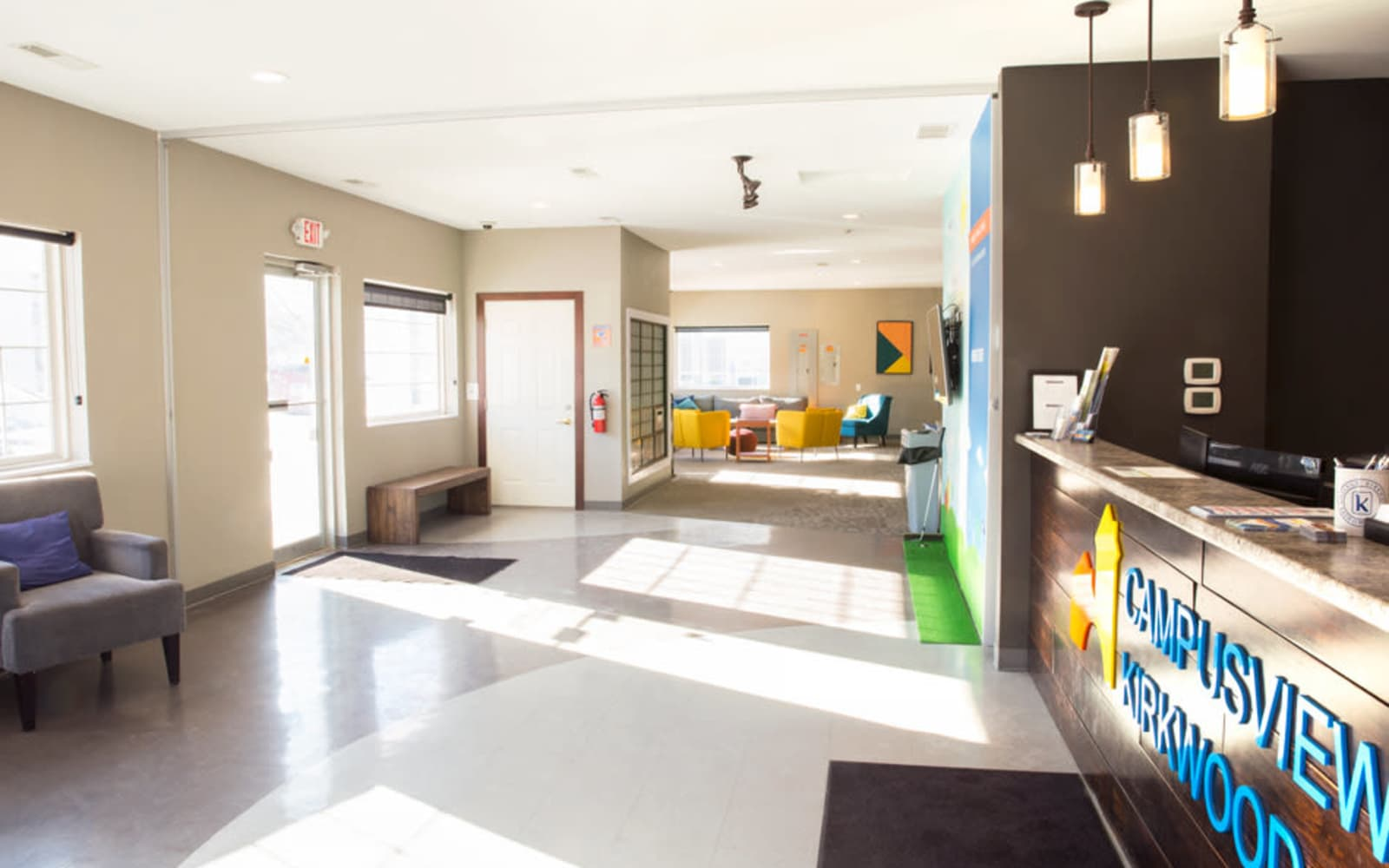 Interior of the resident clubhouse at Campus View & Kirkwood Court in Cedar Rapids, Iowa