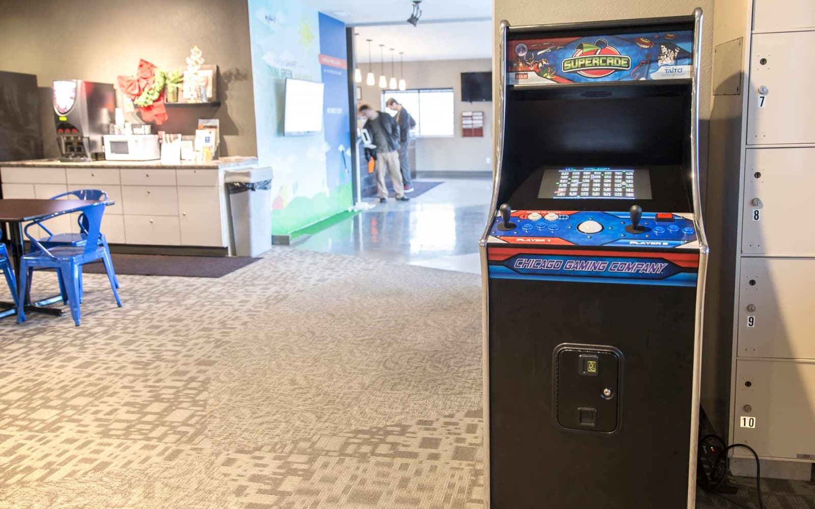 An arcade game in the clubhouse at Campus View & Kirkwood Court in Cedar Rapids, Iowa