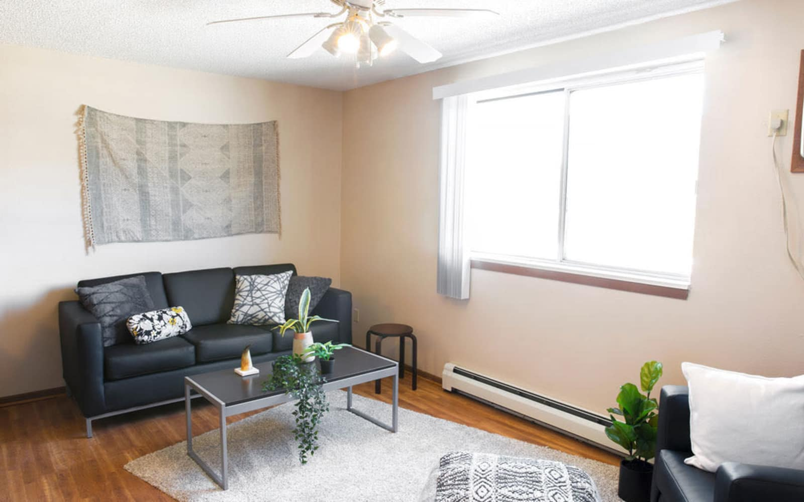 Cozy apartment living room at Campus View & Kirkwood Court in Cedar Rapids, Iowa